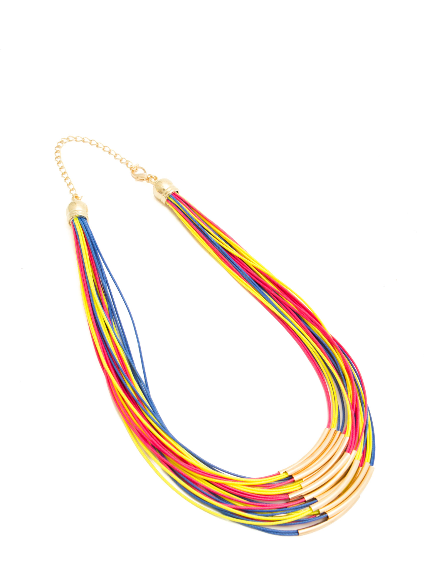 Layered Cord N Bar Necklace GOLD