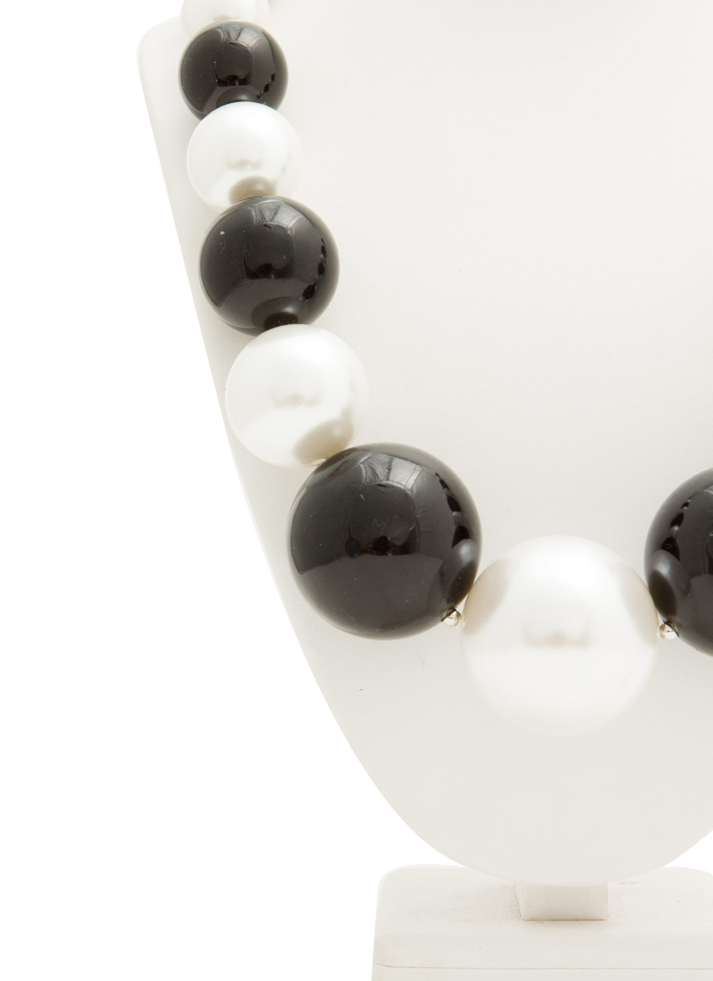 Oversized Faux Pearl Necklace Set IVORYBLACK