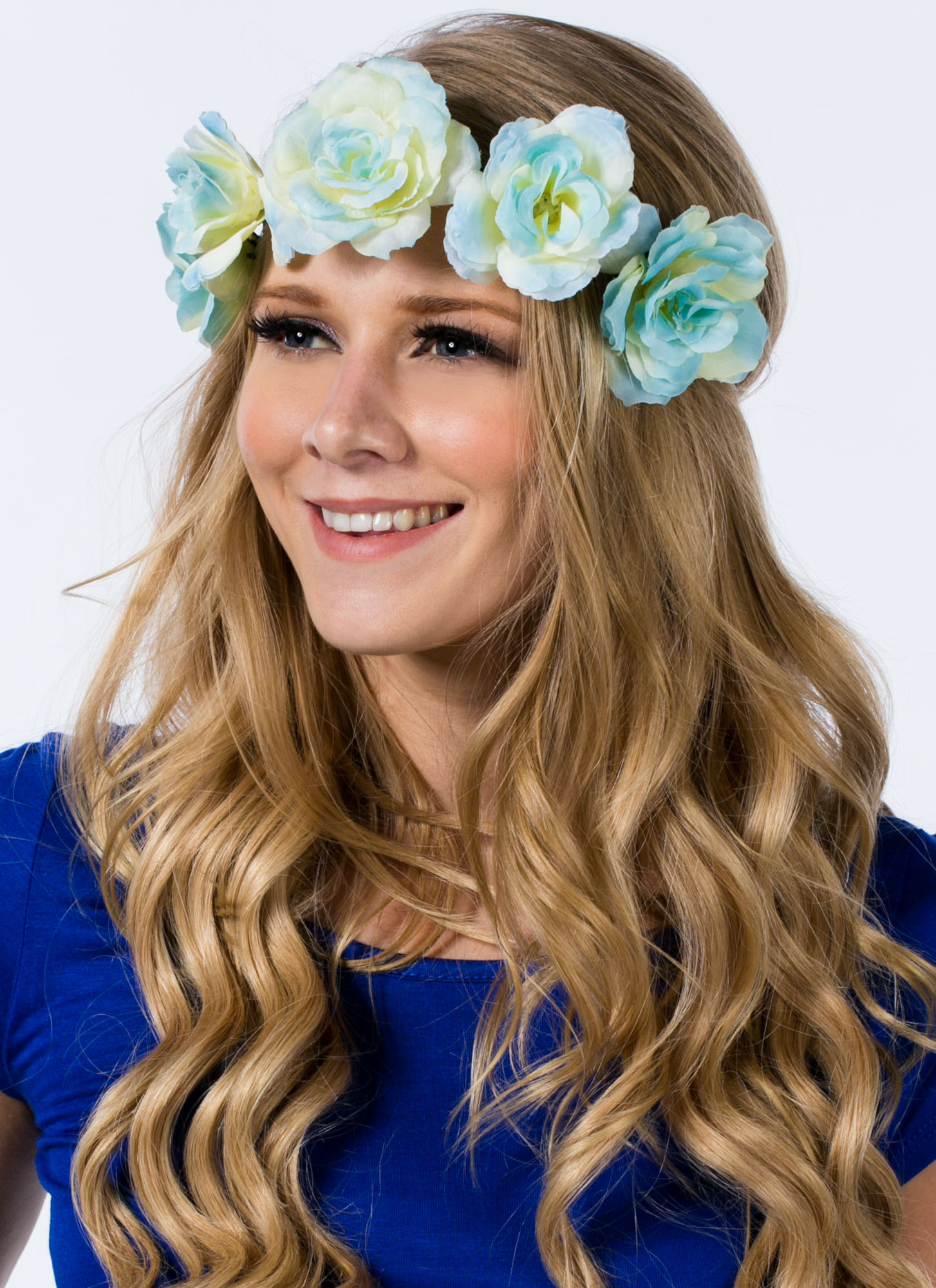 Roses In Bloom Braided Headband BLUEIVORY