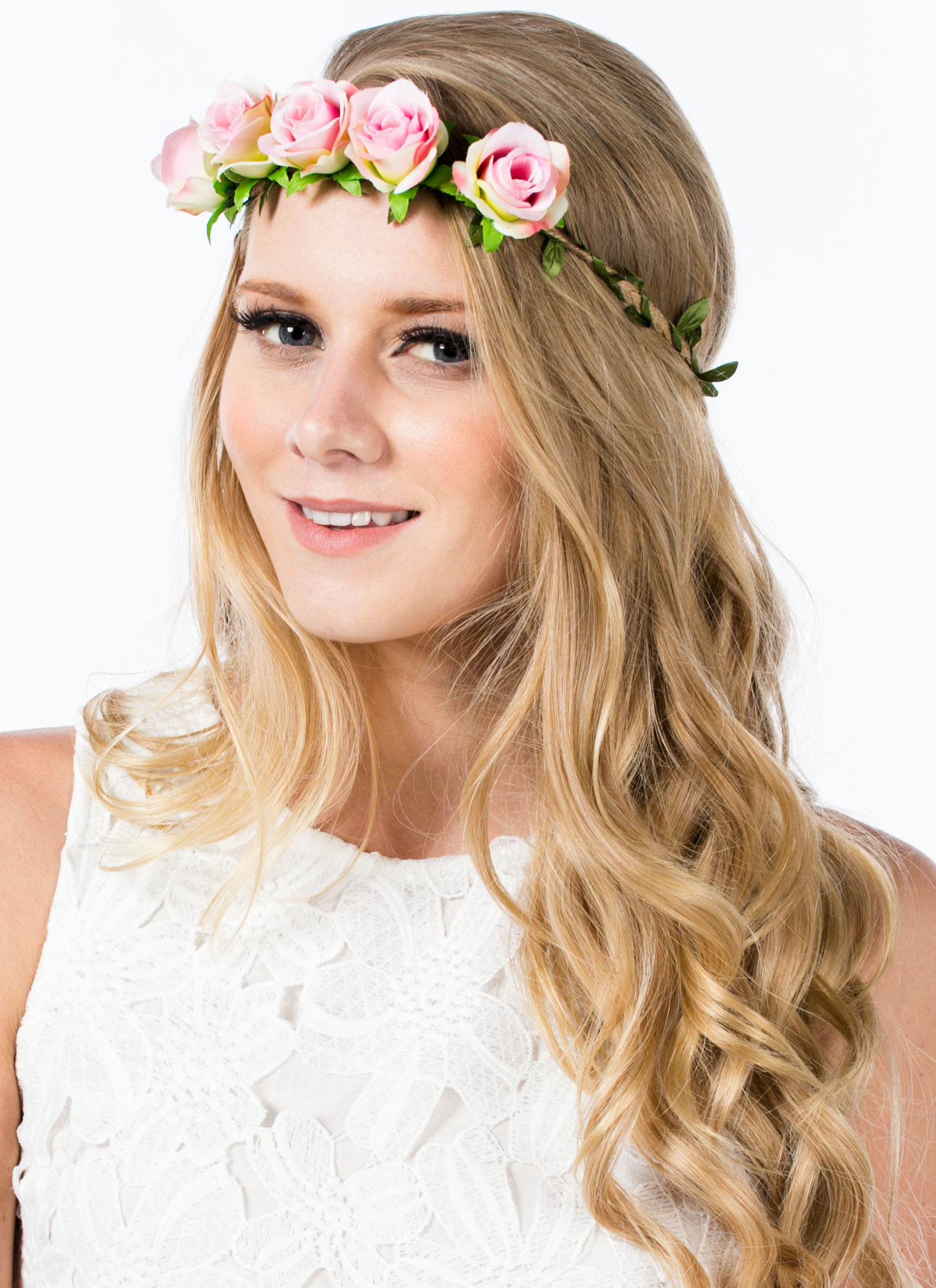 Row Of Roses Braided Hemp Headband PINK