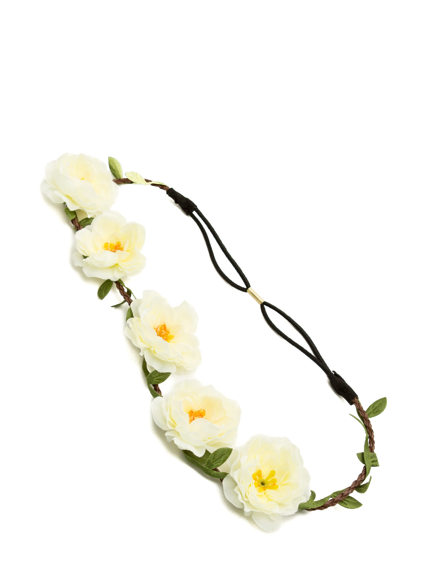 Floral Row Braided Headband IVORY