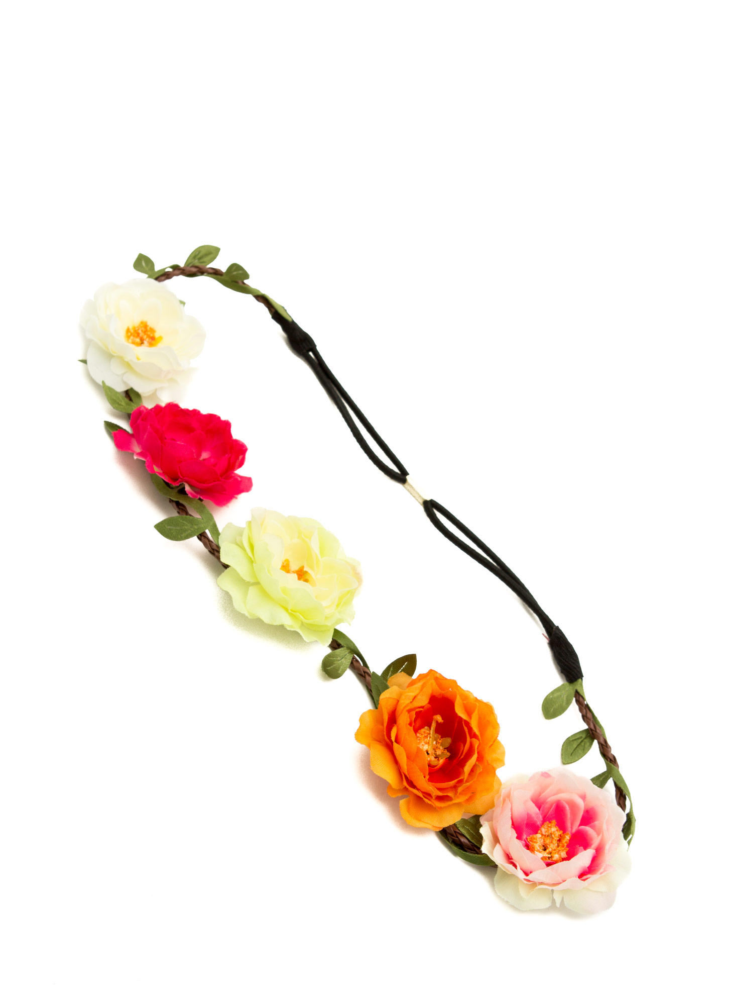 Floral Row Braided Headband MULTI