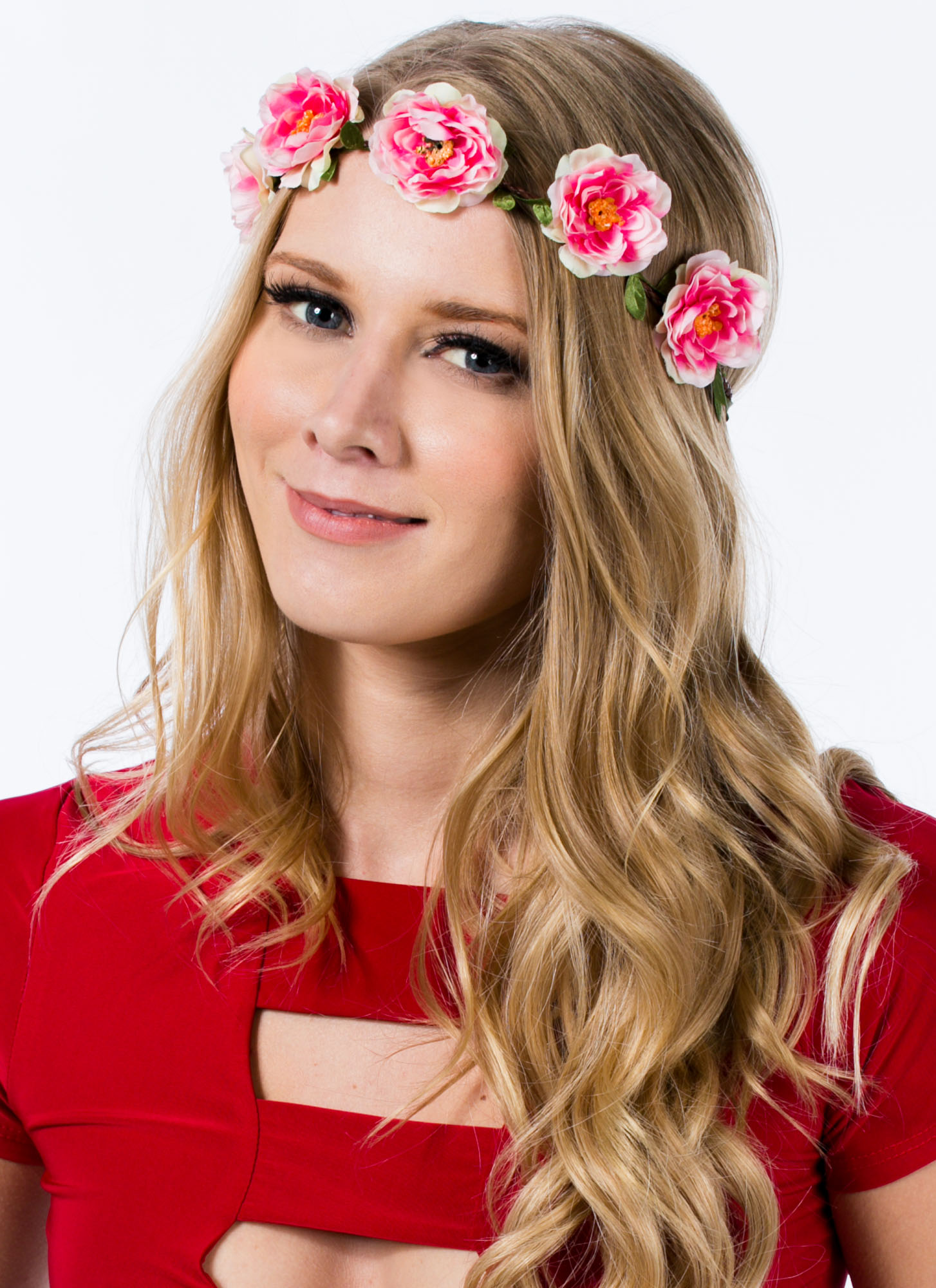 Floral Row Braided Headband PINKIVORY