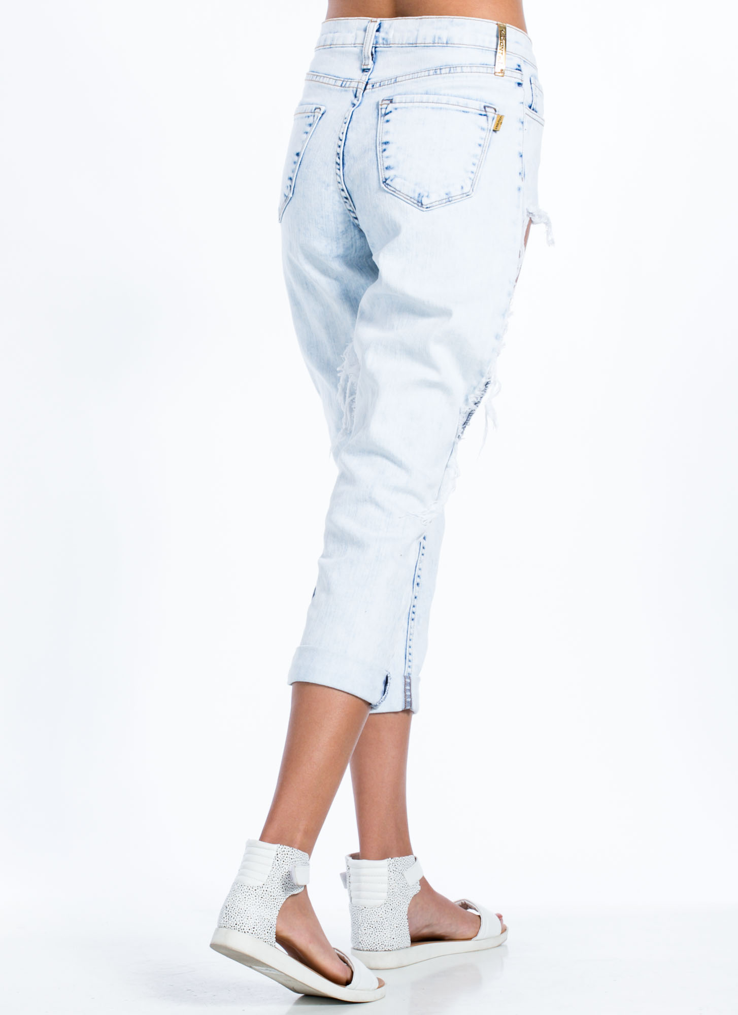 Thigh Cut-Out Boyfriend Jeans LTACID