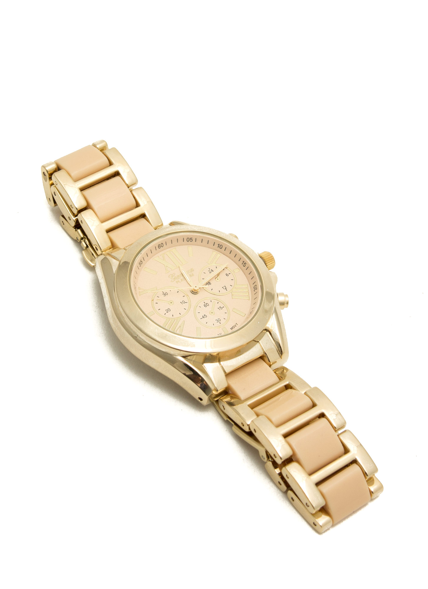 Tiled Roman Numeral Boyfriend Watch PEACHGOLD