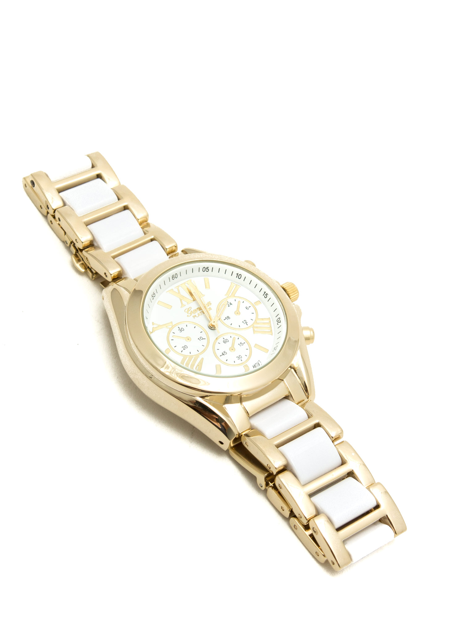 Tiled Roman Numeral Boyfriend Watch WHITEGOLD
