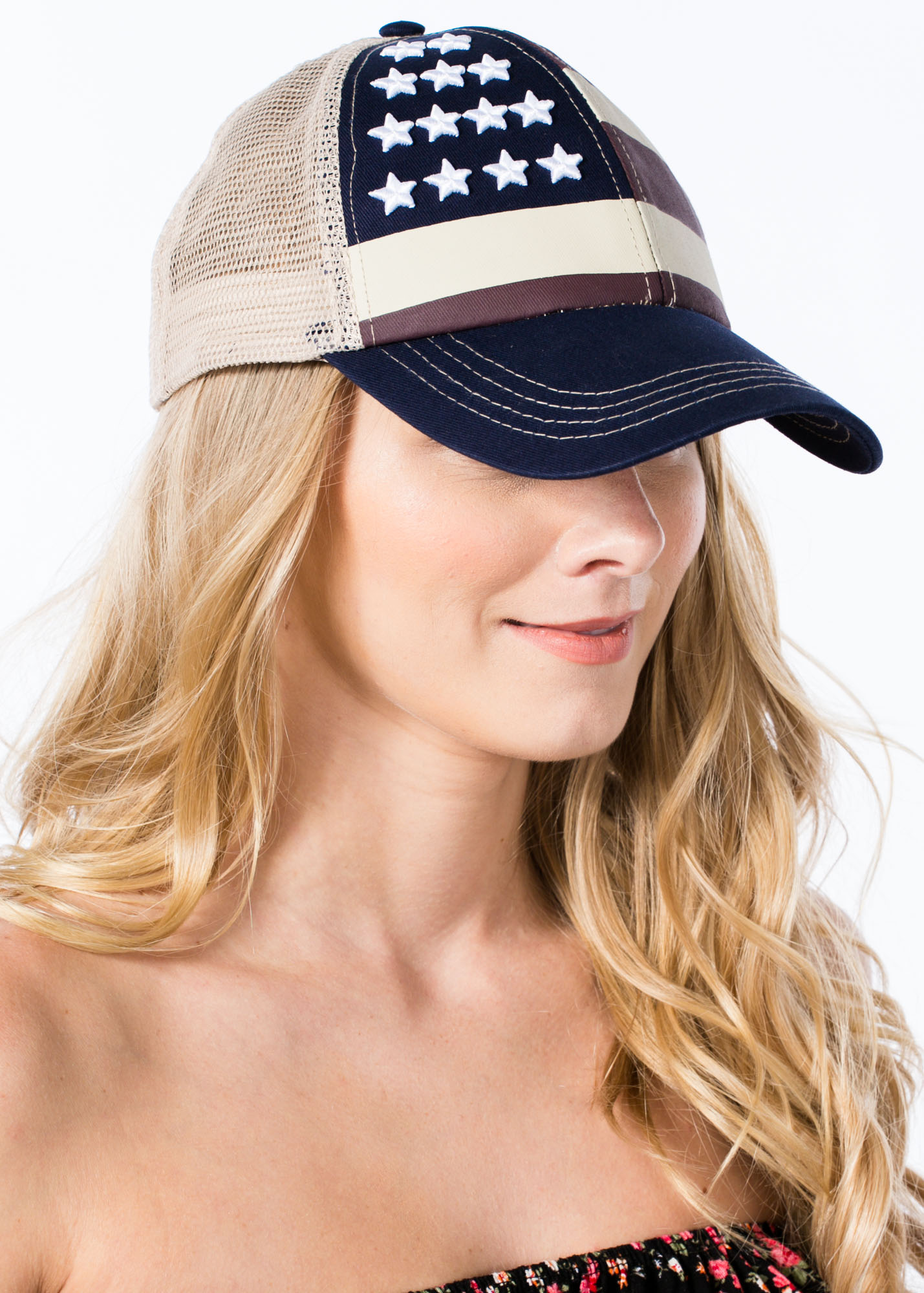 Embroidered Stars N Stripes Hat BEIGENAVY