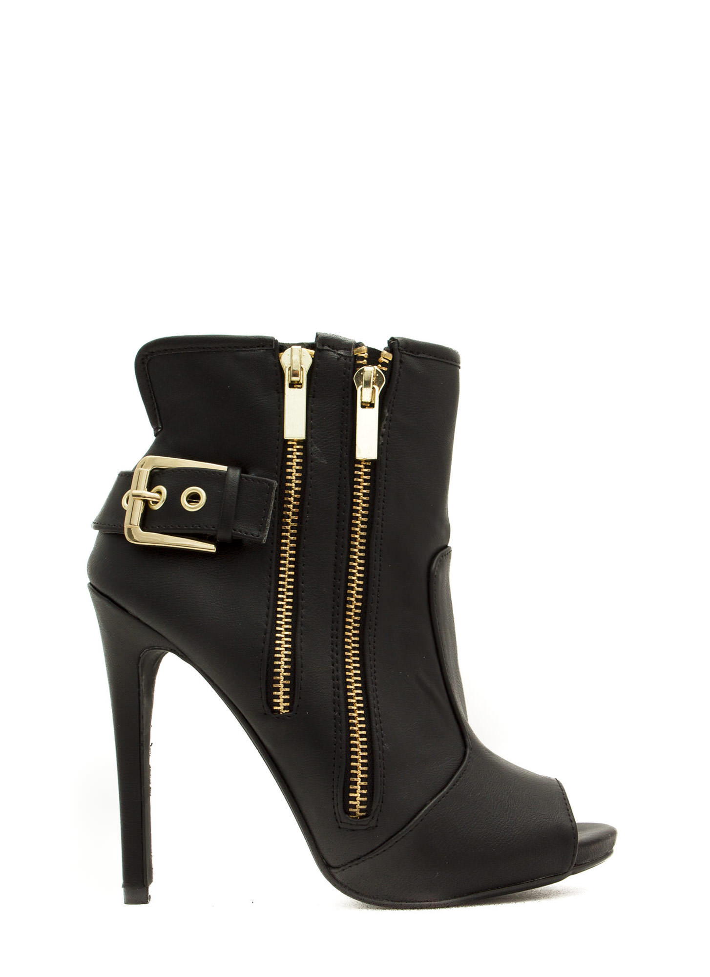 Double Zip Peep-Toe Booties BLACK