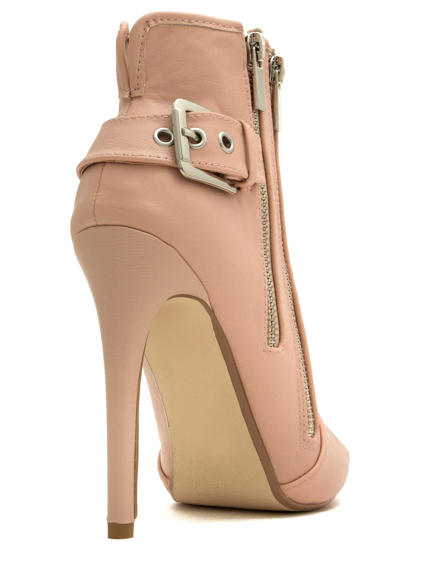 Double Zip Peep-Toe Booties ROSE