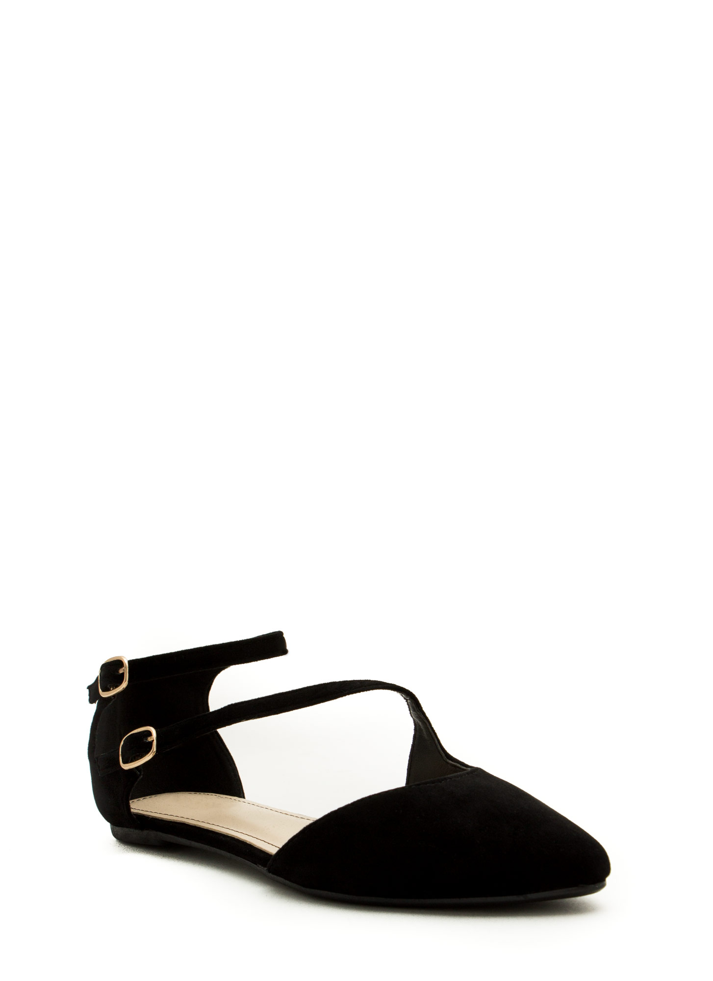 Double Buckle Cross Strap Flats BLACK
