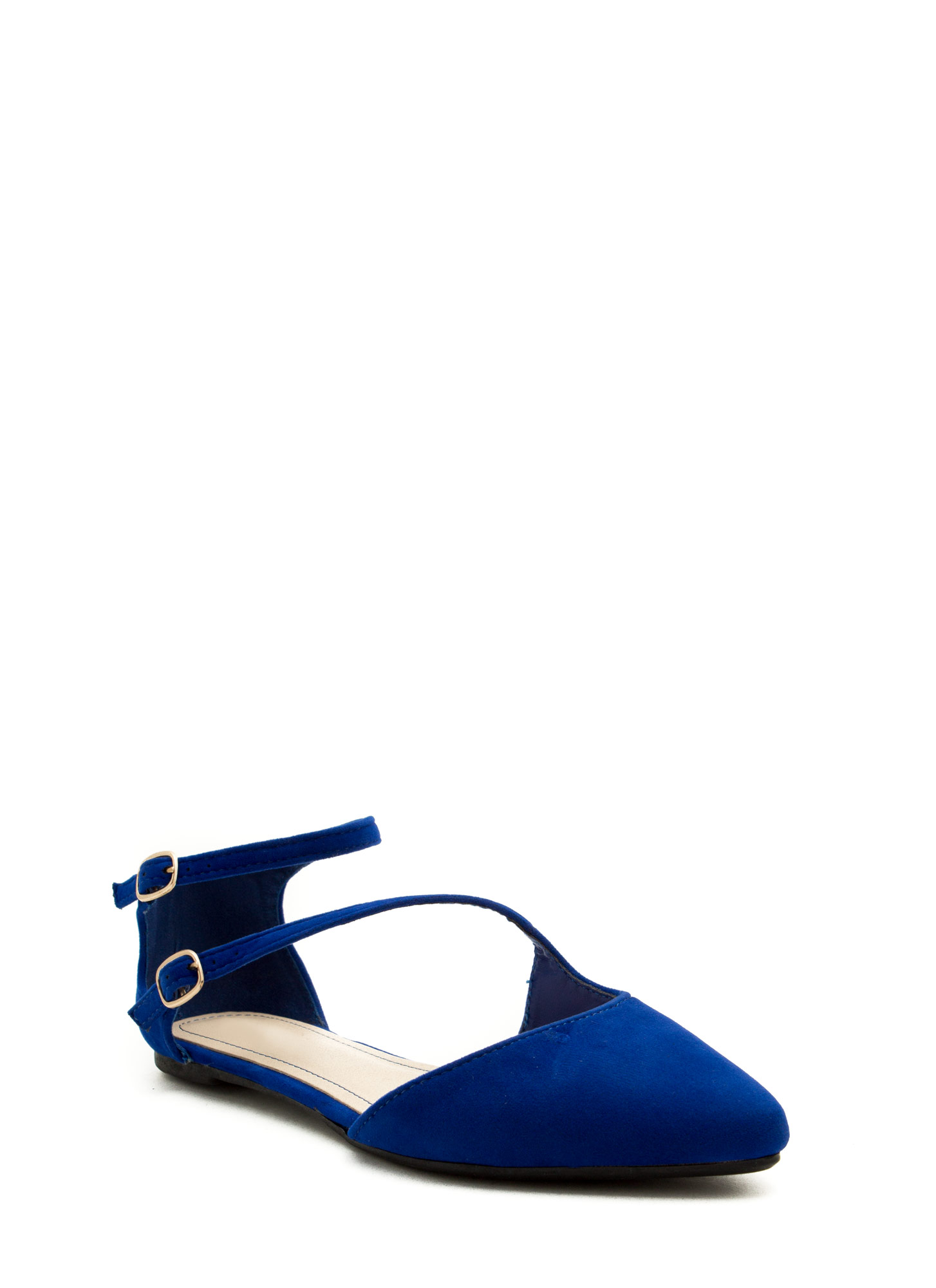 Double Buckle Cross Strap Flats BLUE