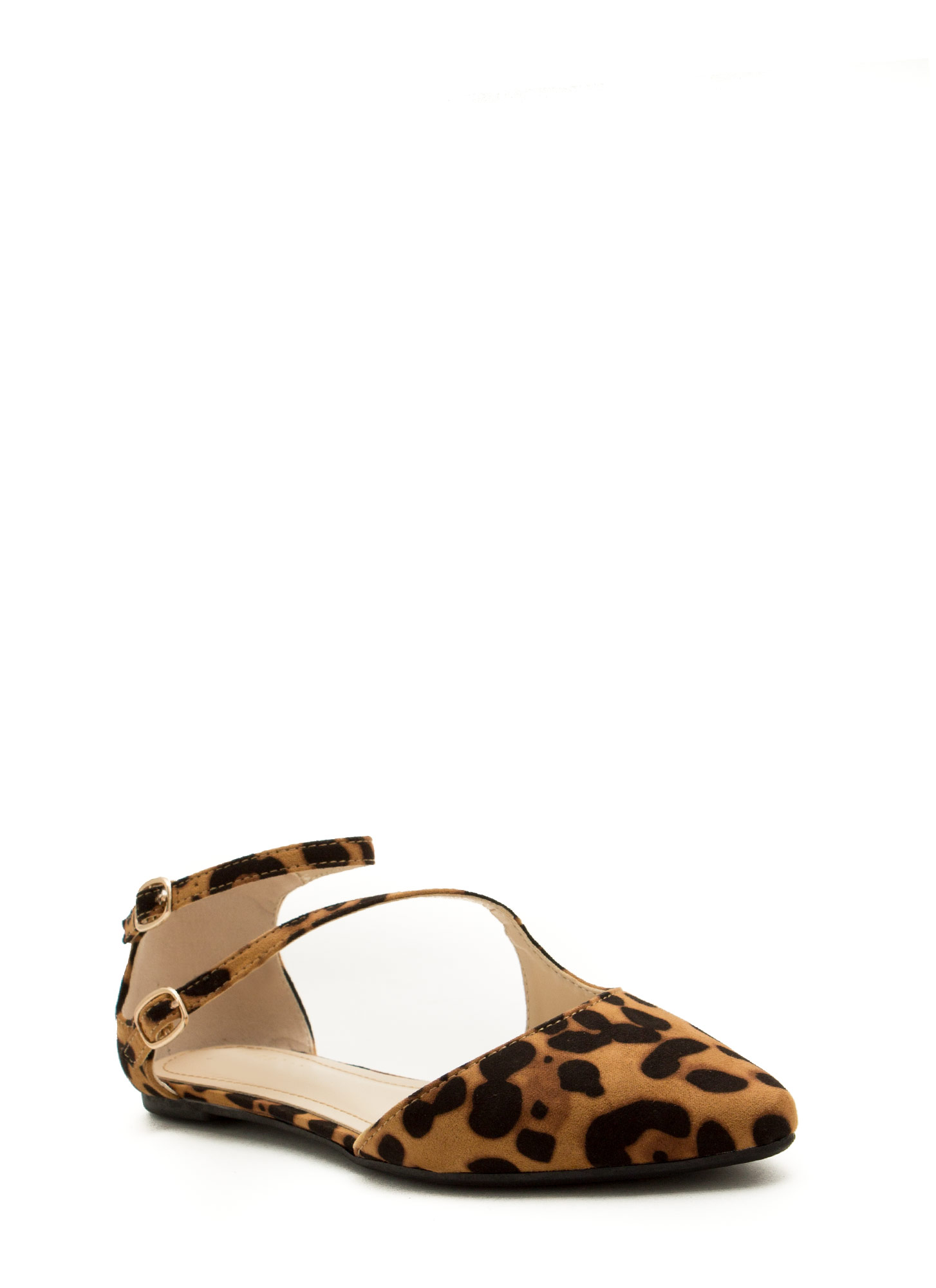 Double Buckle Cross Strap Flats LEOPARD