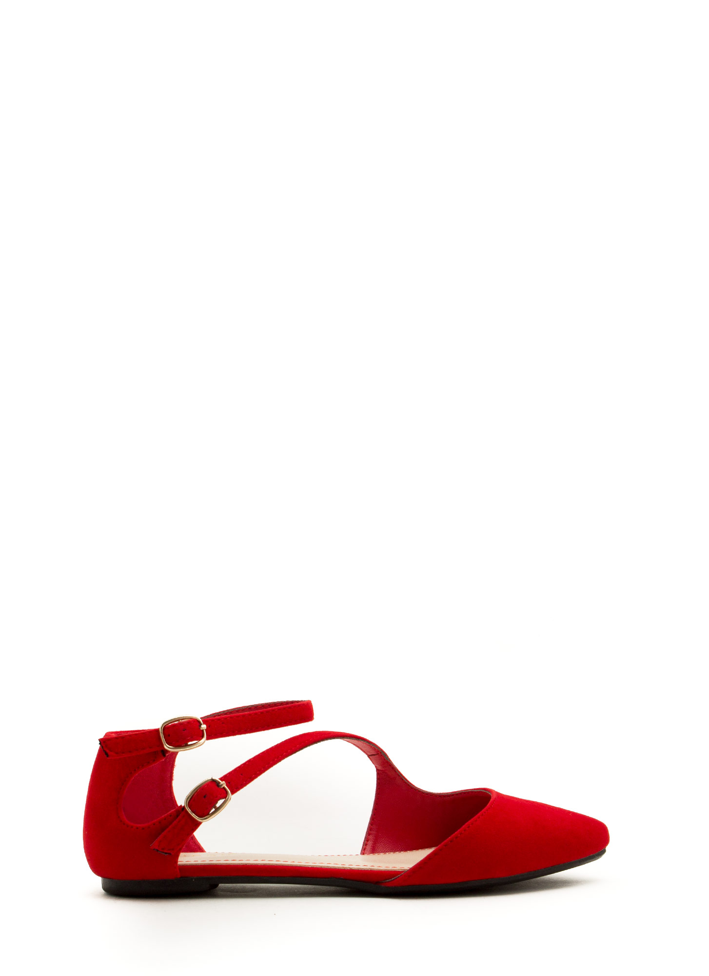 Double Buckle Cross Strap Flats RED