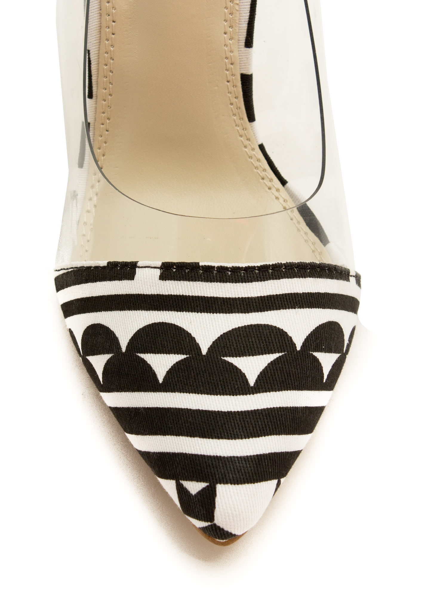Clearly Abstract Geo Ankle Strap Heels BLACKWHITE