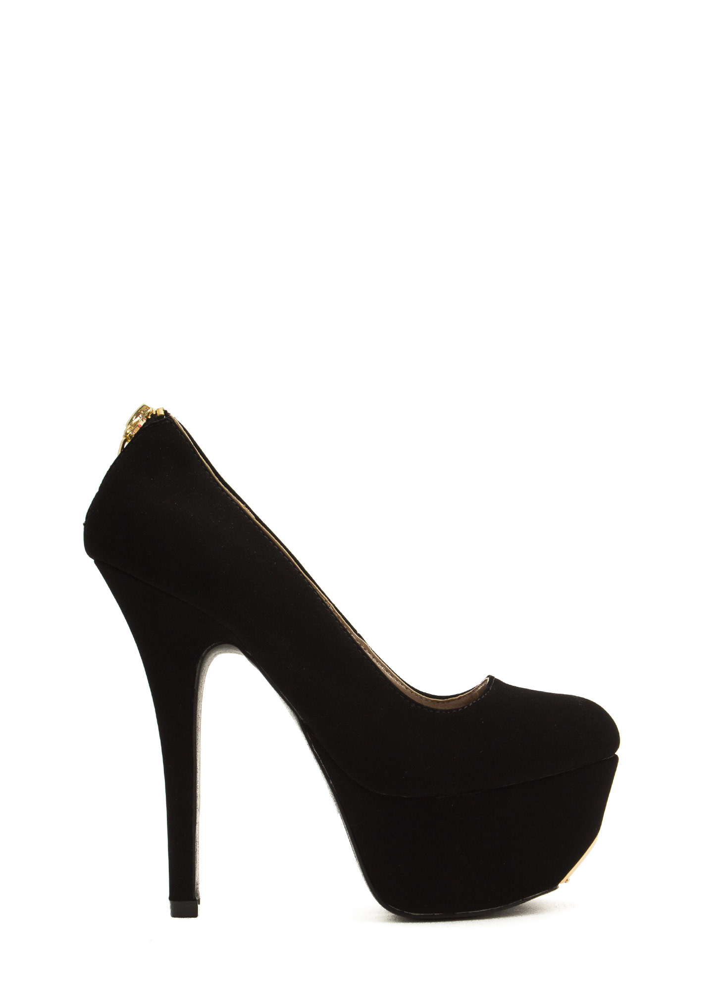 Zip You Into Shape Platform Heels BLACK