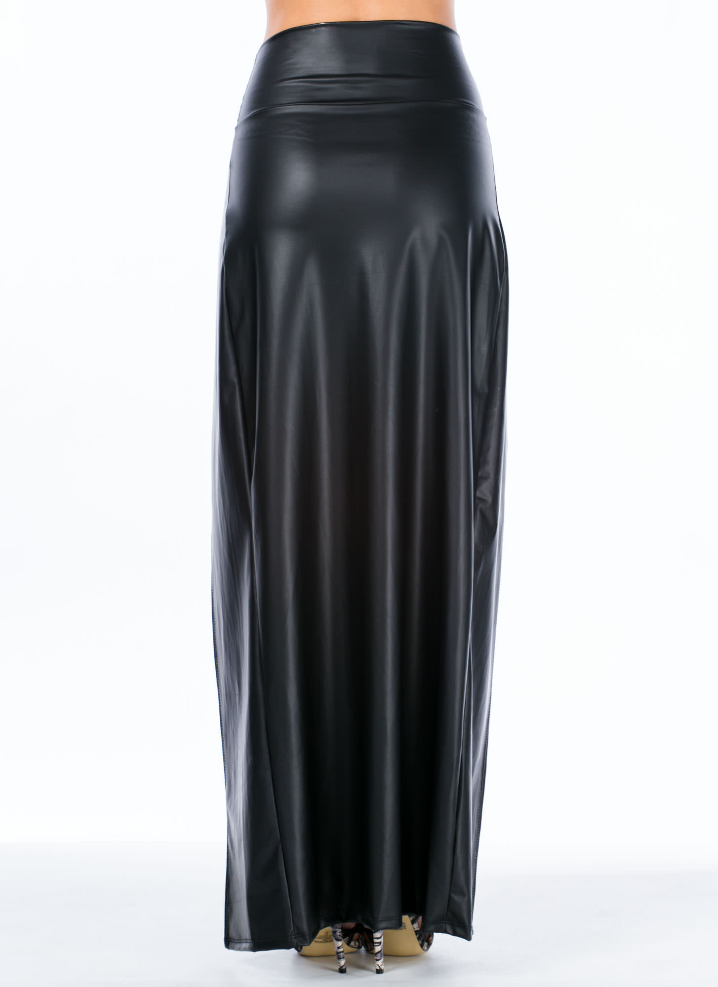 Slick Moves Double Slit Maxi Skirt BLACK