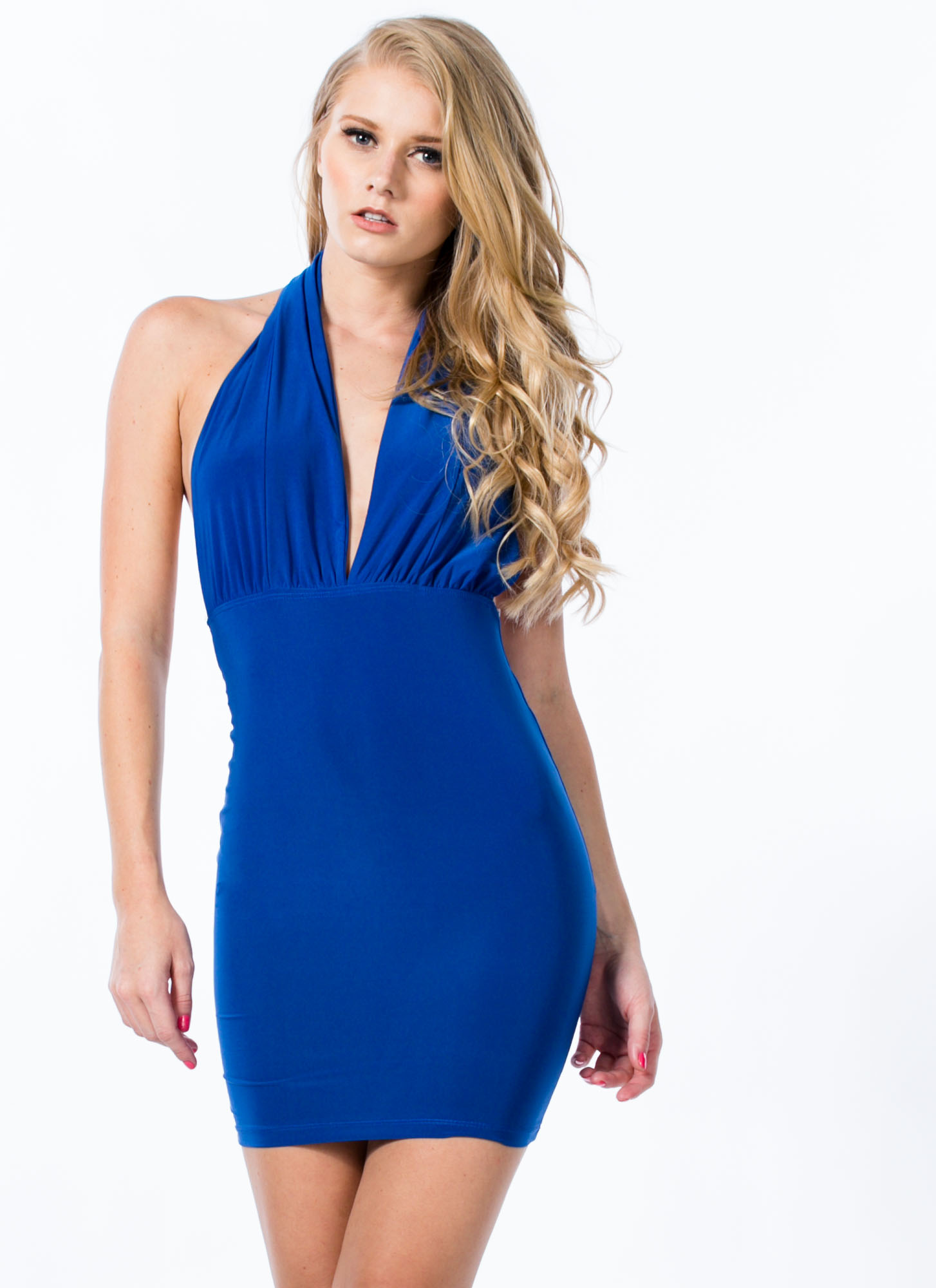 Come To A Halter Plunging Minidress ROYAL