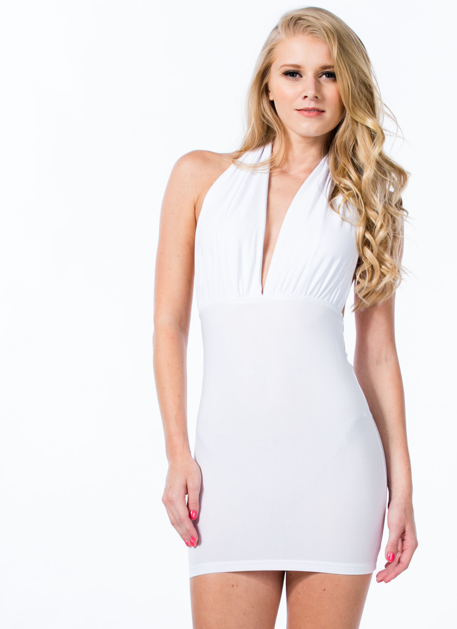 Come To A Halter Plunging Minidress WHITE