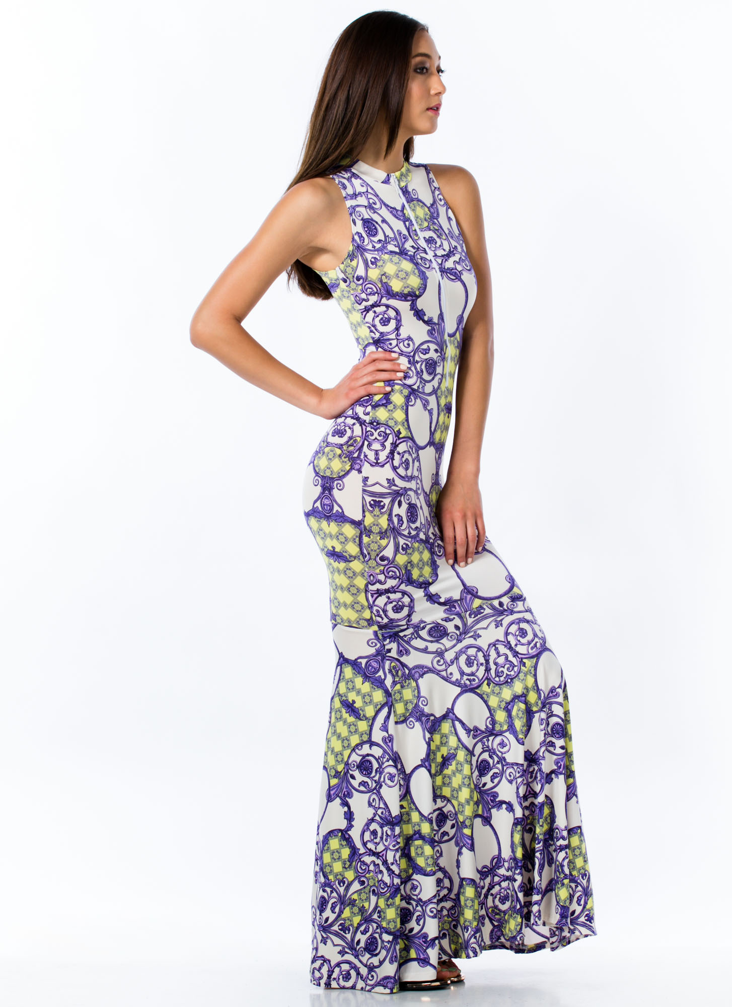 Baroque Print Mermaid Maxi Dress PURPLE