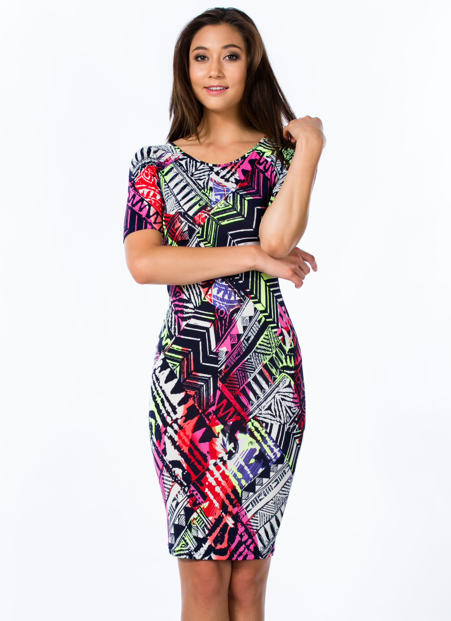Sketched Tribal Print Bodycon Dress MULTI