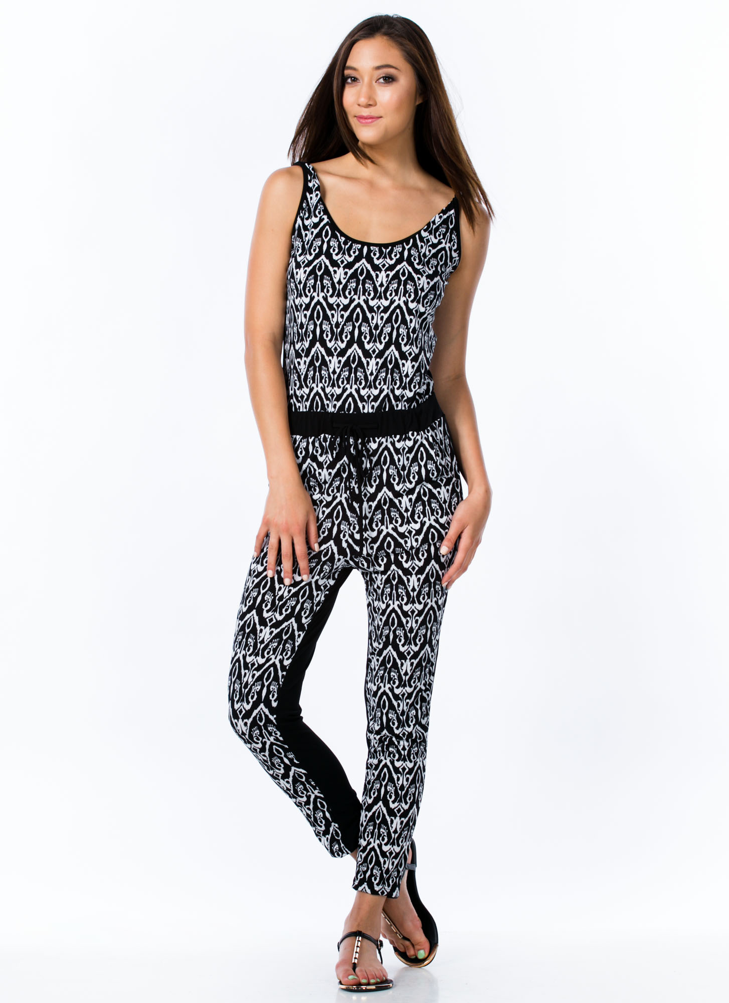 Ikat Print Jumpsuit BLACK