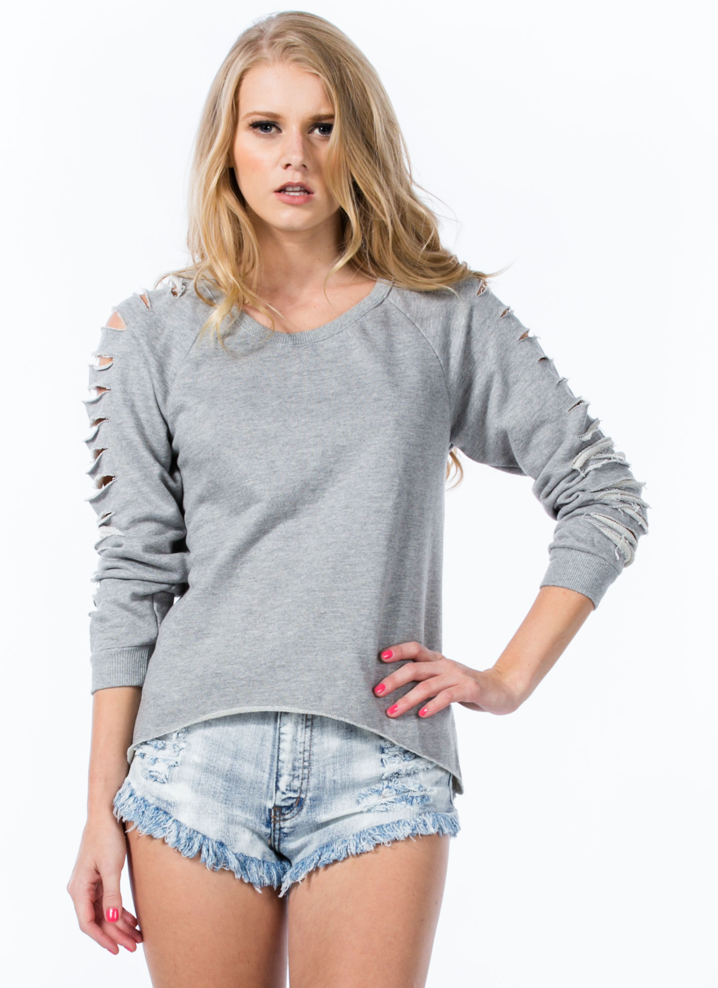 Holy Slit Shredded Sleeve Sweatshirt HGREY