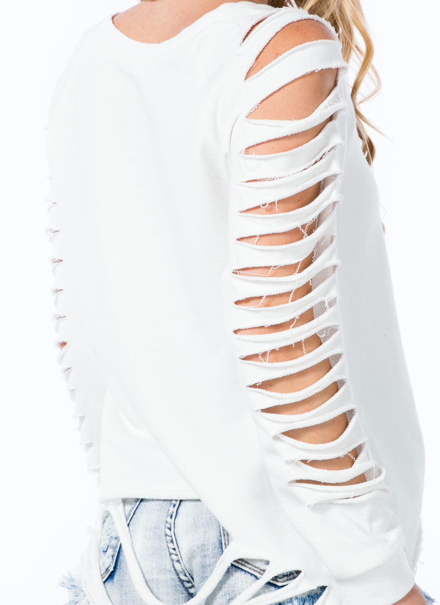 Holy Slit Shredded Sleeve Sweatshirt WHITE