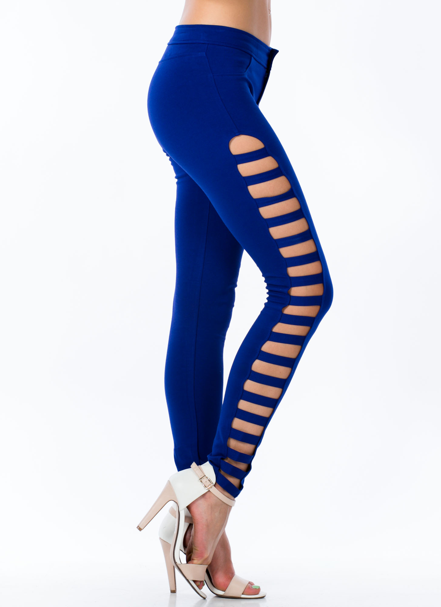 Ladder Rinse Repeat Cut-Out Skinnies ROYAL
