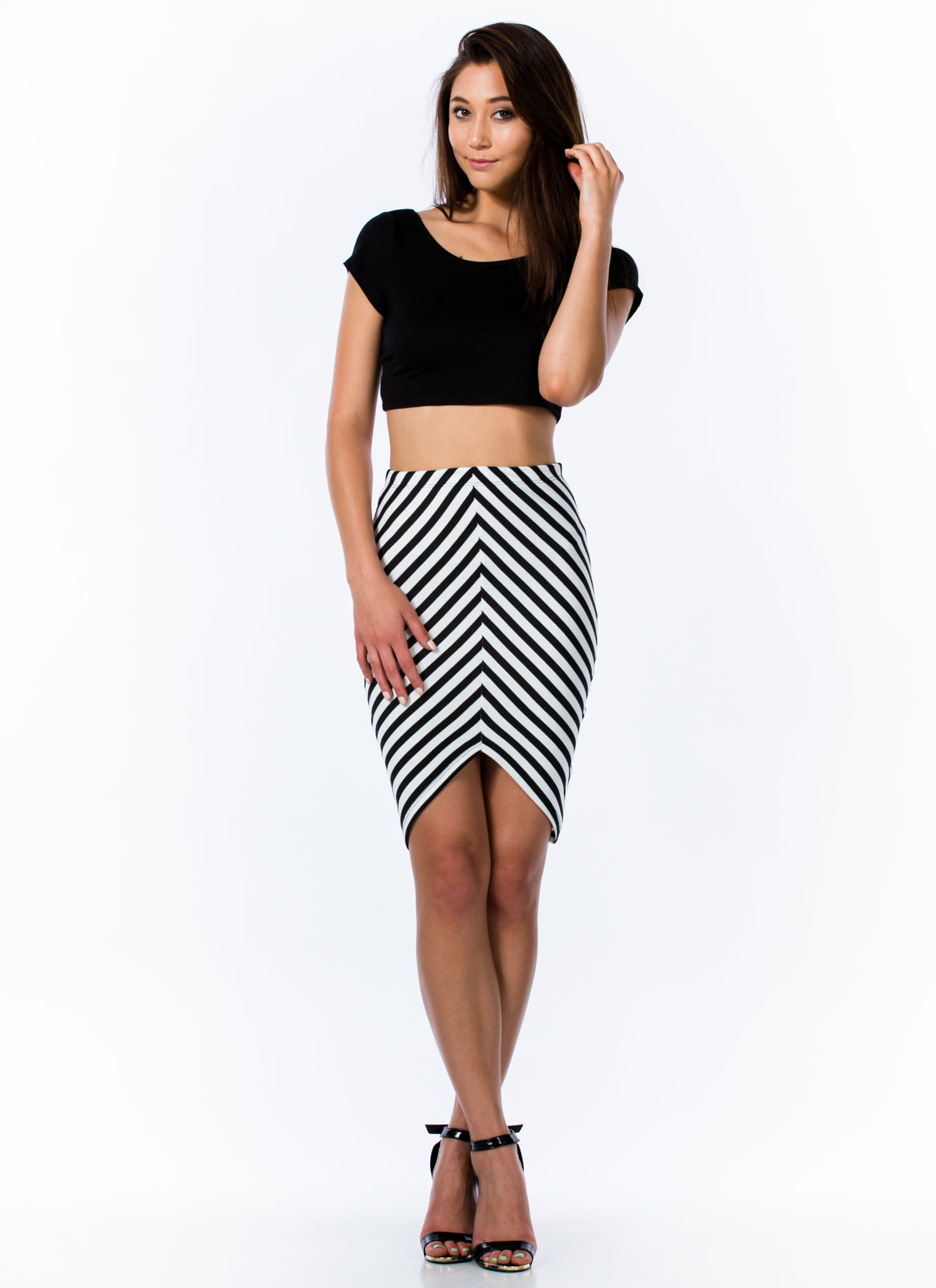 V Free Striped Pencil Skirt BLACKWHITE