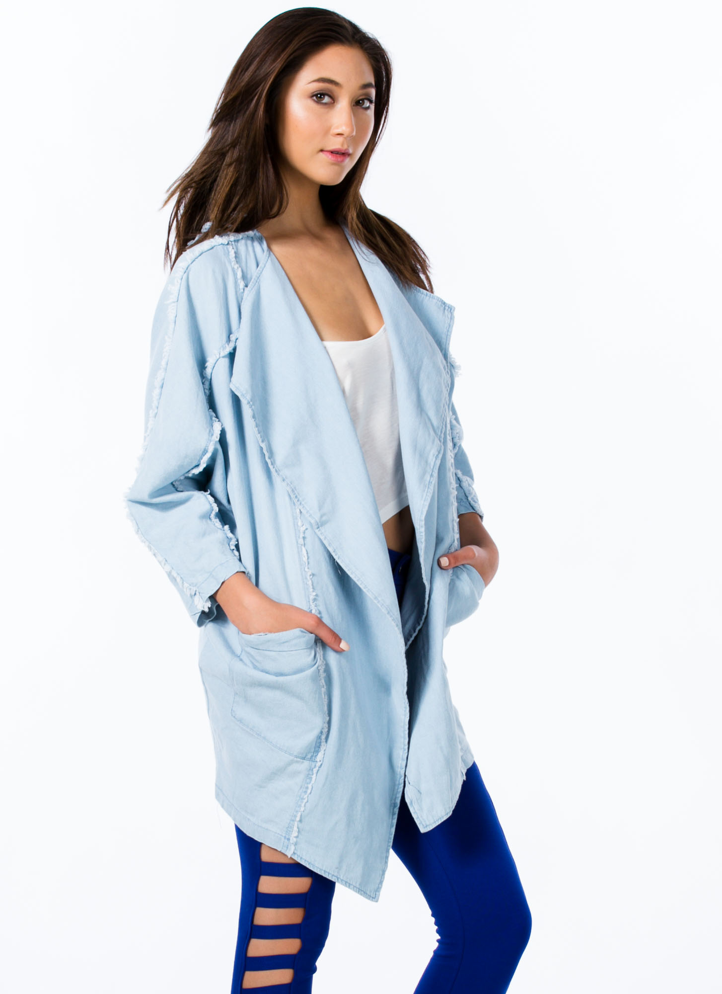 Oversized Chambray Jacket LTBLUE