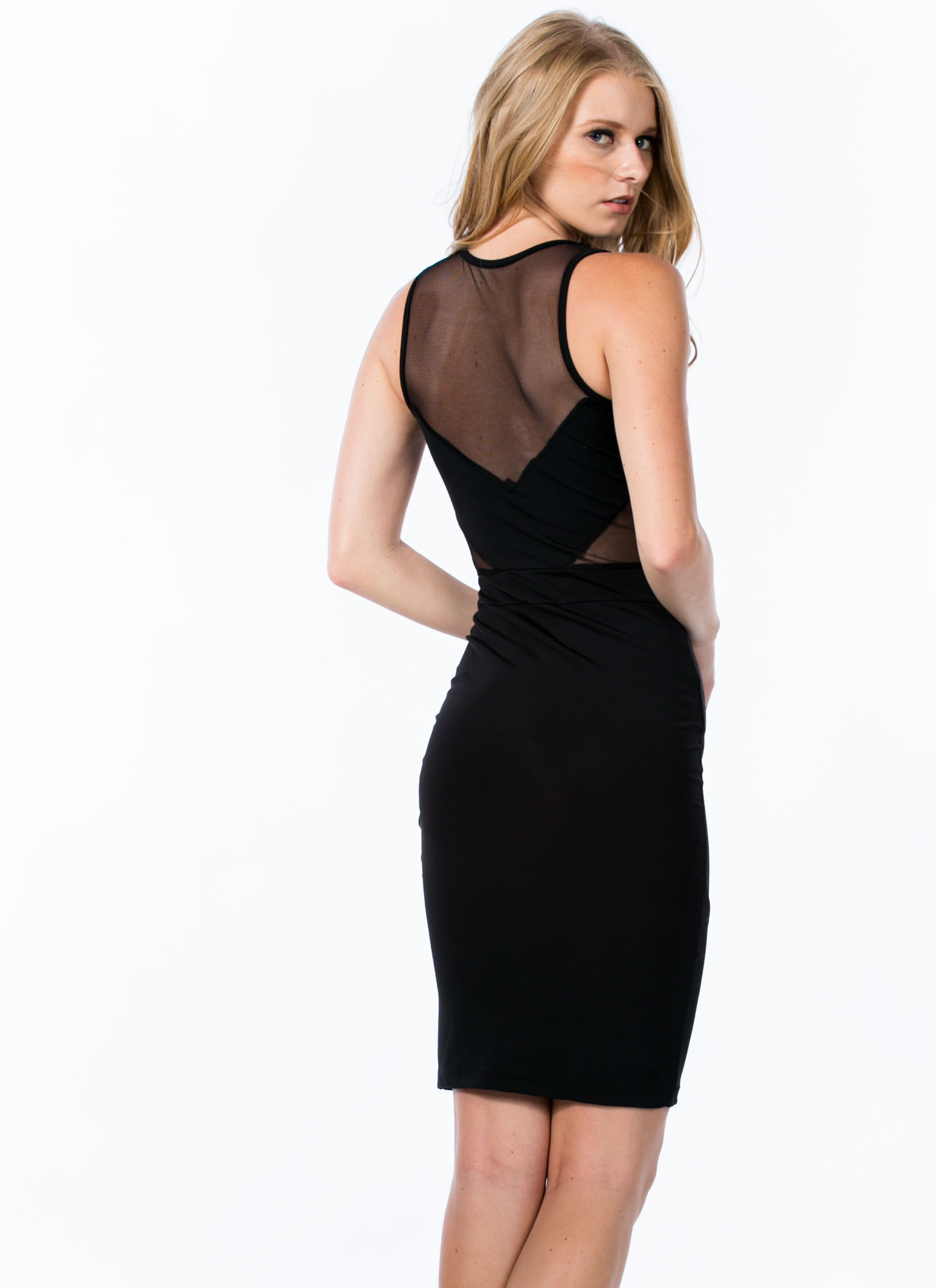 I'm Different Contrast Mesh Dress BLACK