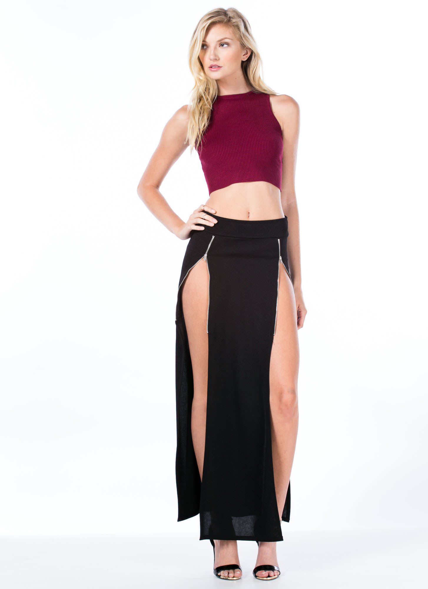 Double Zipper Slit Maxi Skirt BLACK