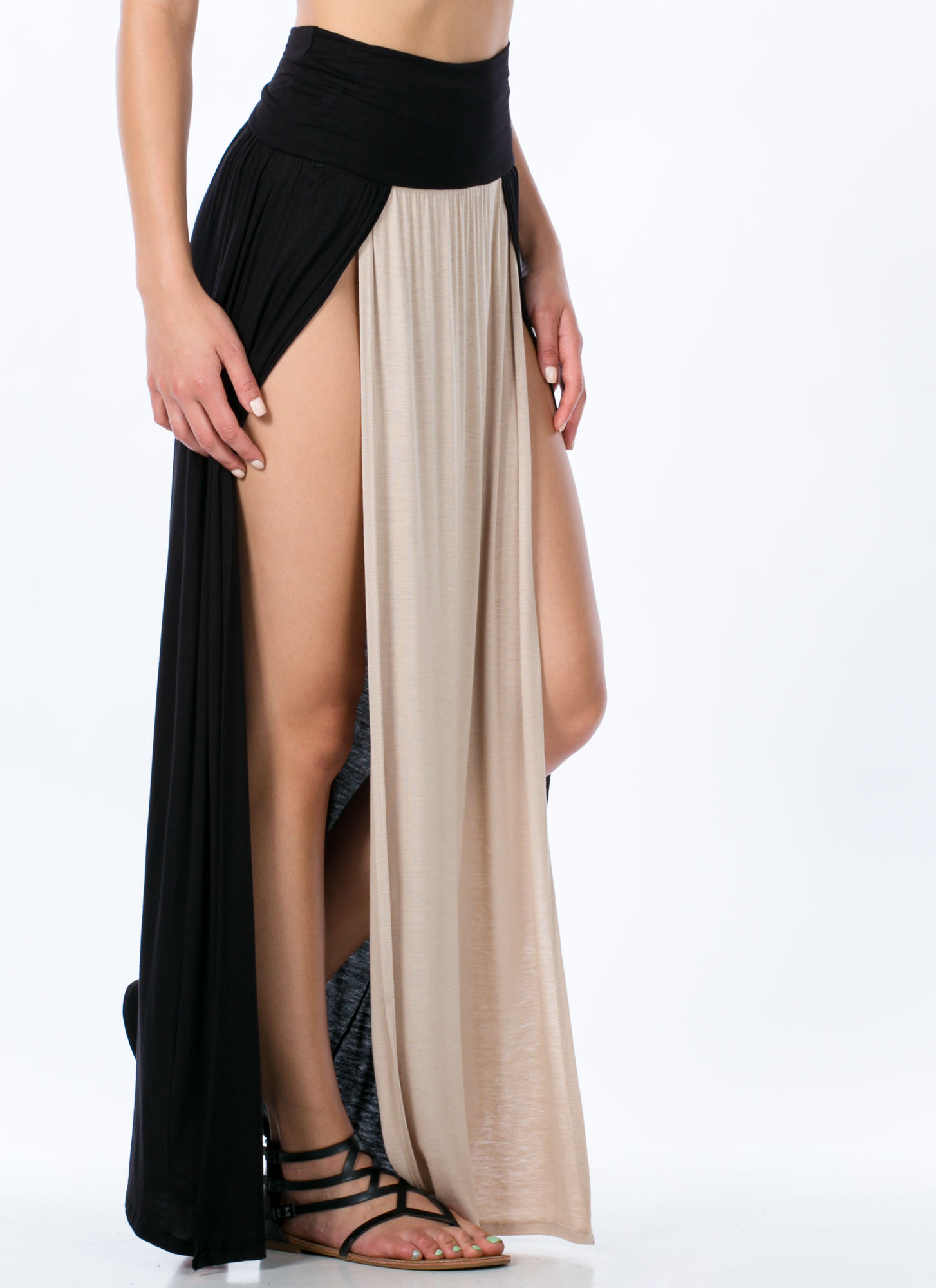 Double Slit Colorblock Maxi Skirt KHAKI