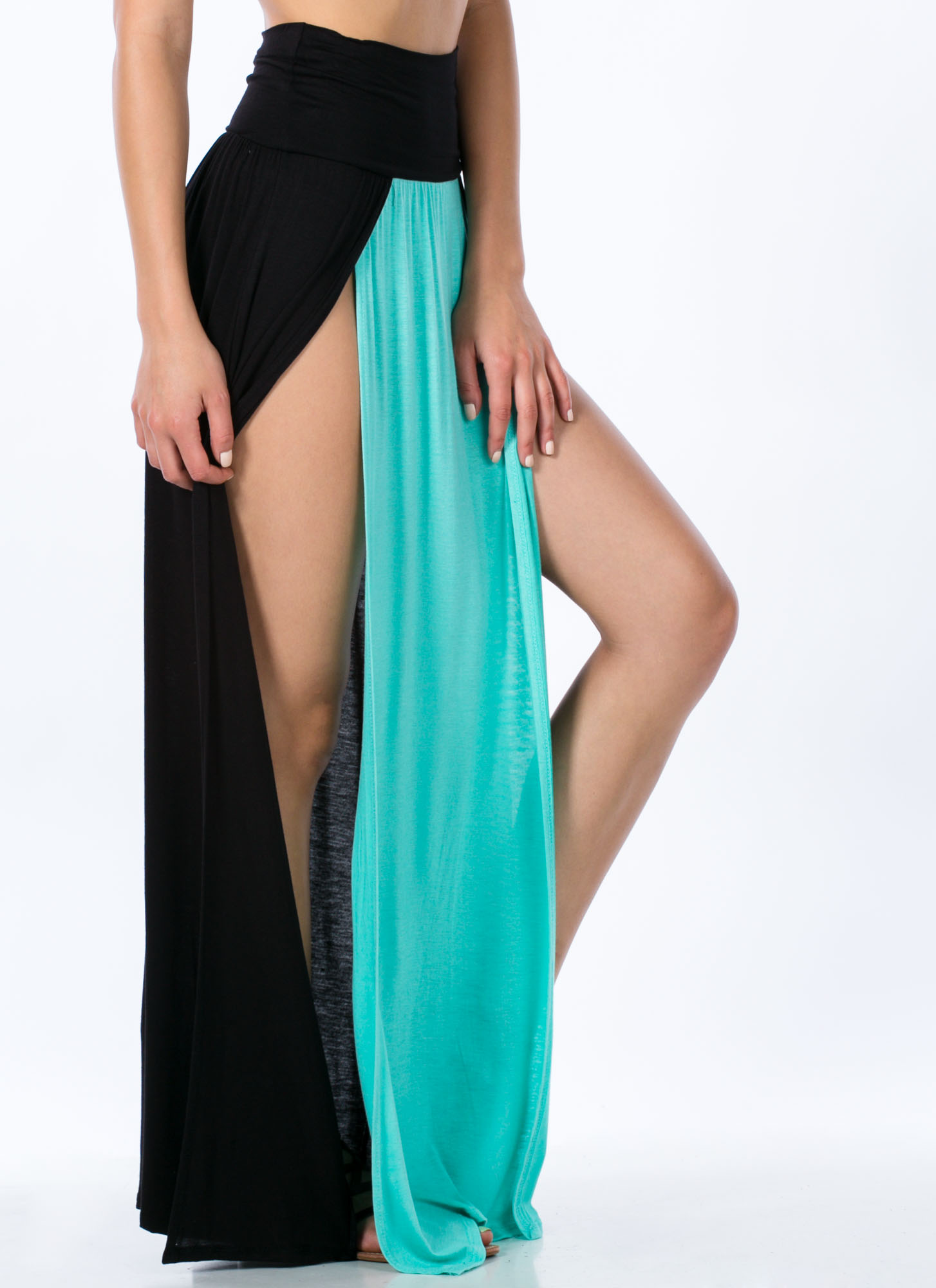 Double Slit Colorblock Maxi Skirt MINT