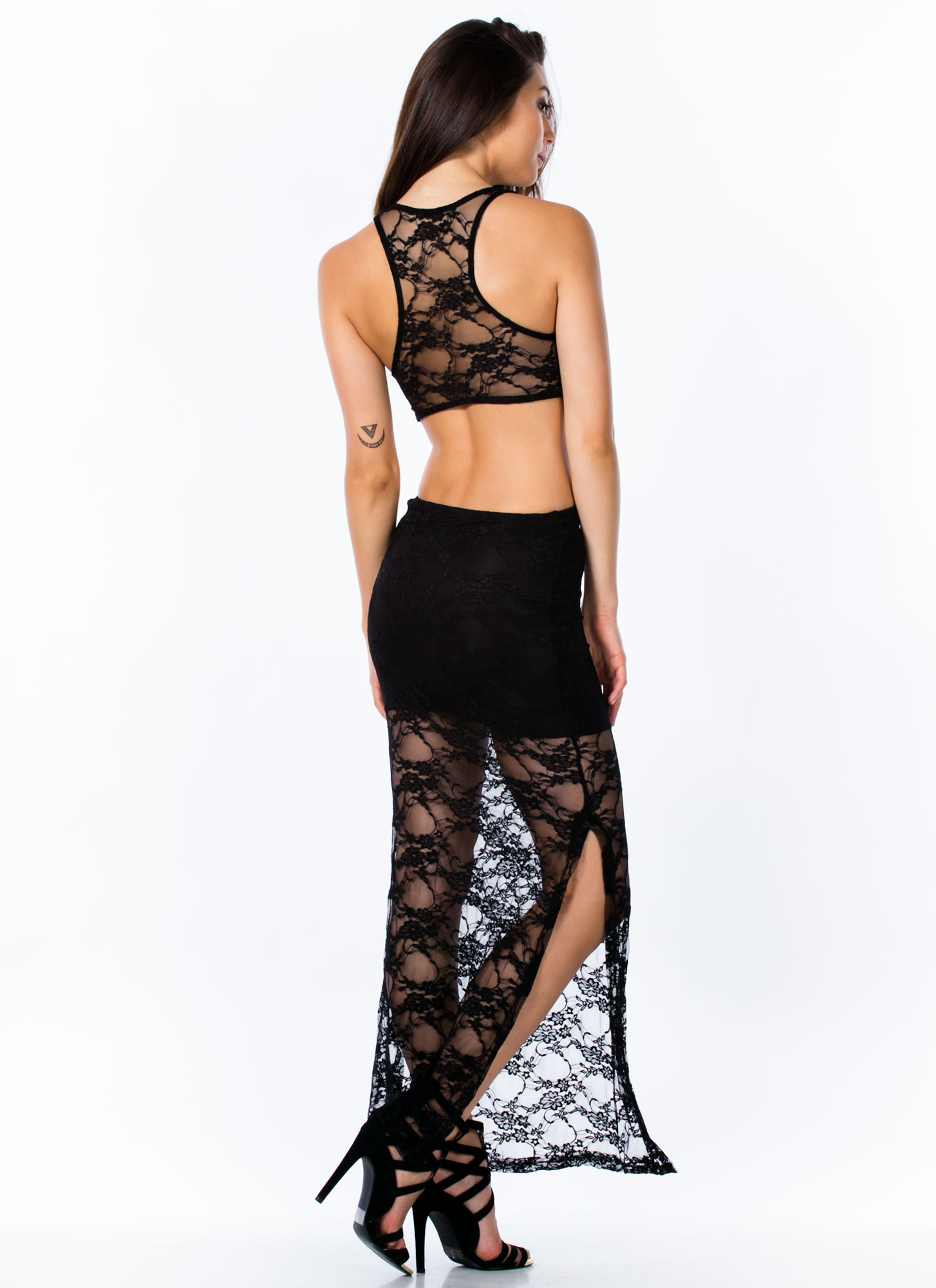 In Your Lace Knotted Maxi Dress BLACK