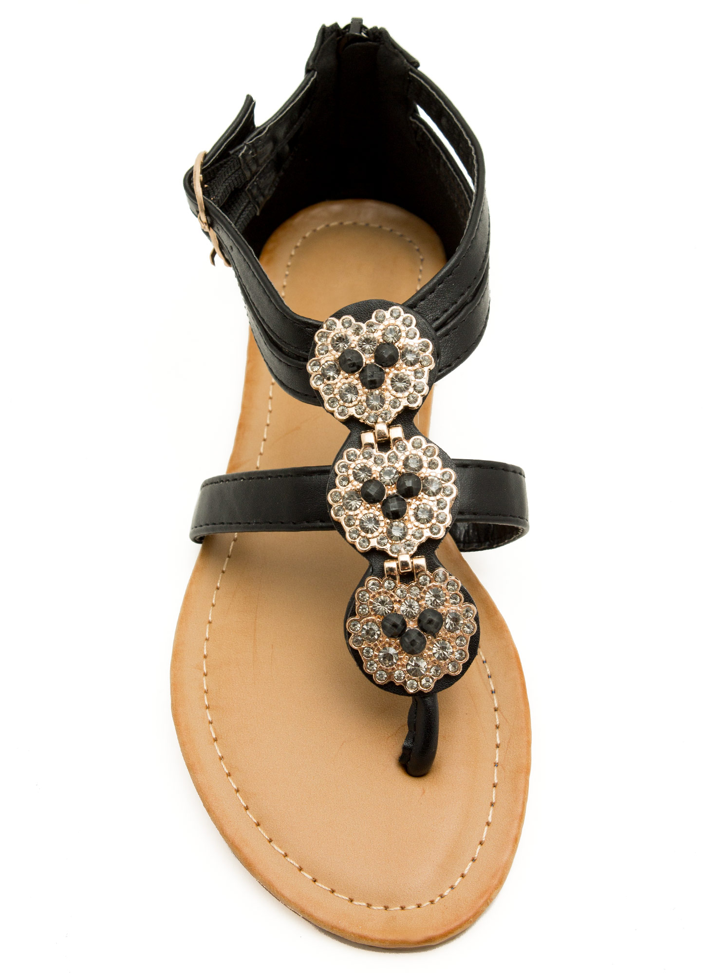 Measure In Jewels Thong Sandals BLACK
