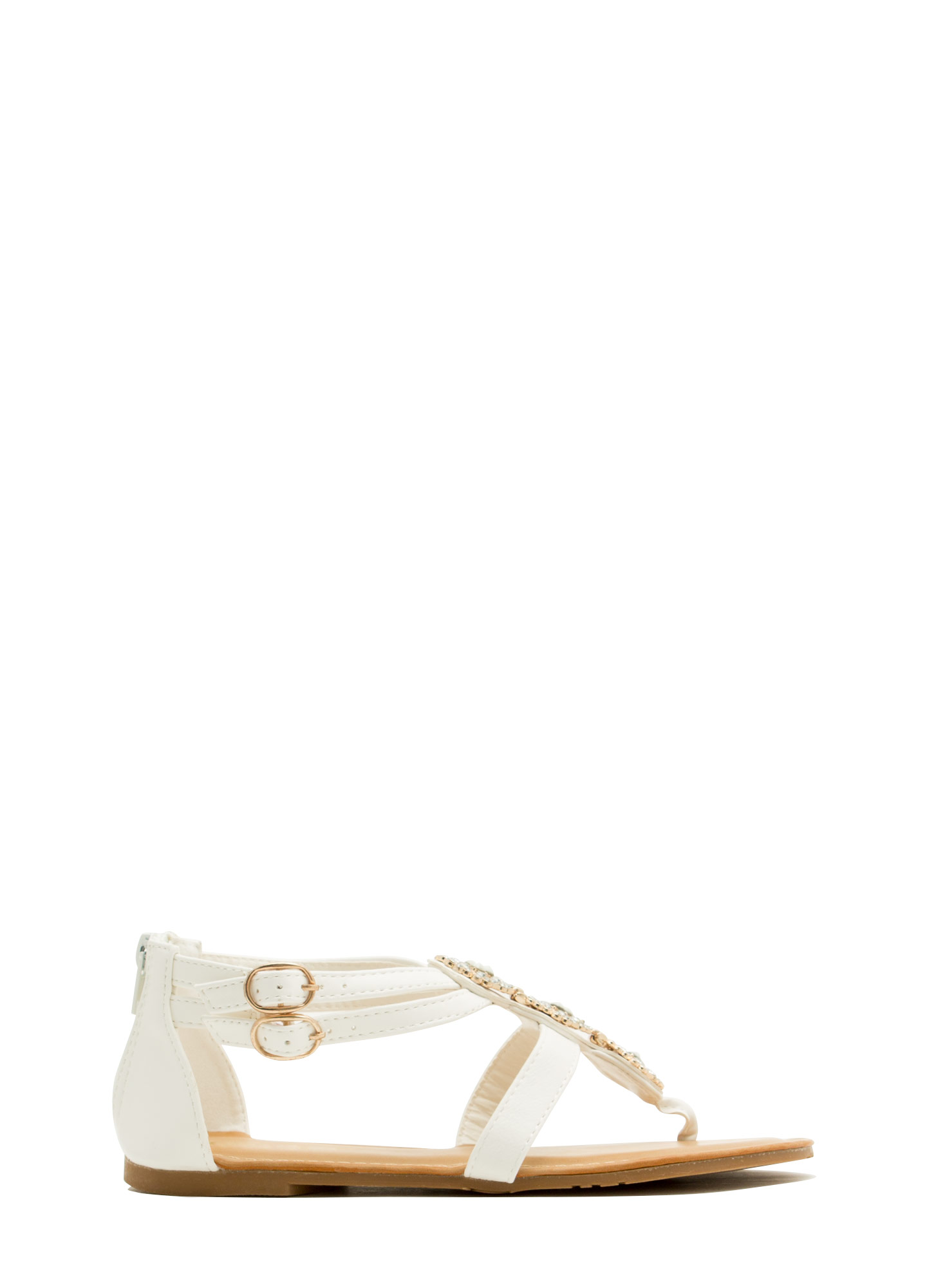 Measure In Jewels Thong Sandals WHITE