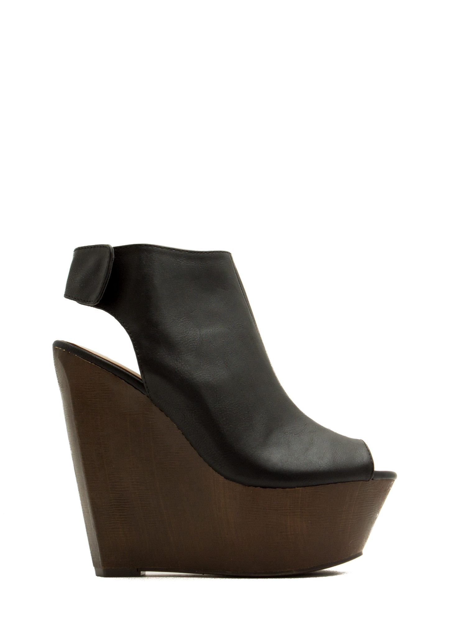 Faux Leather Mule Platform Wedges BLACK