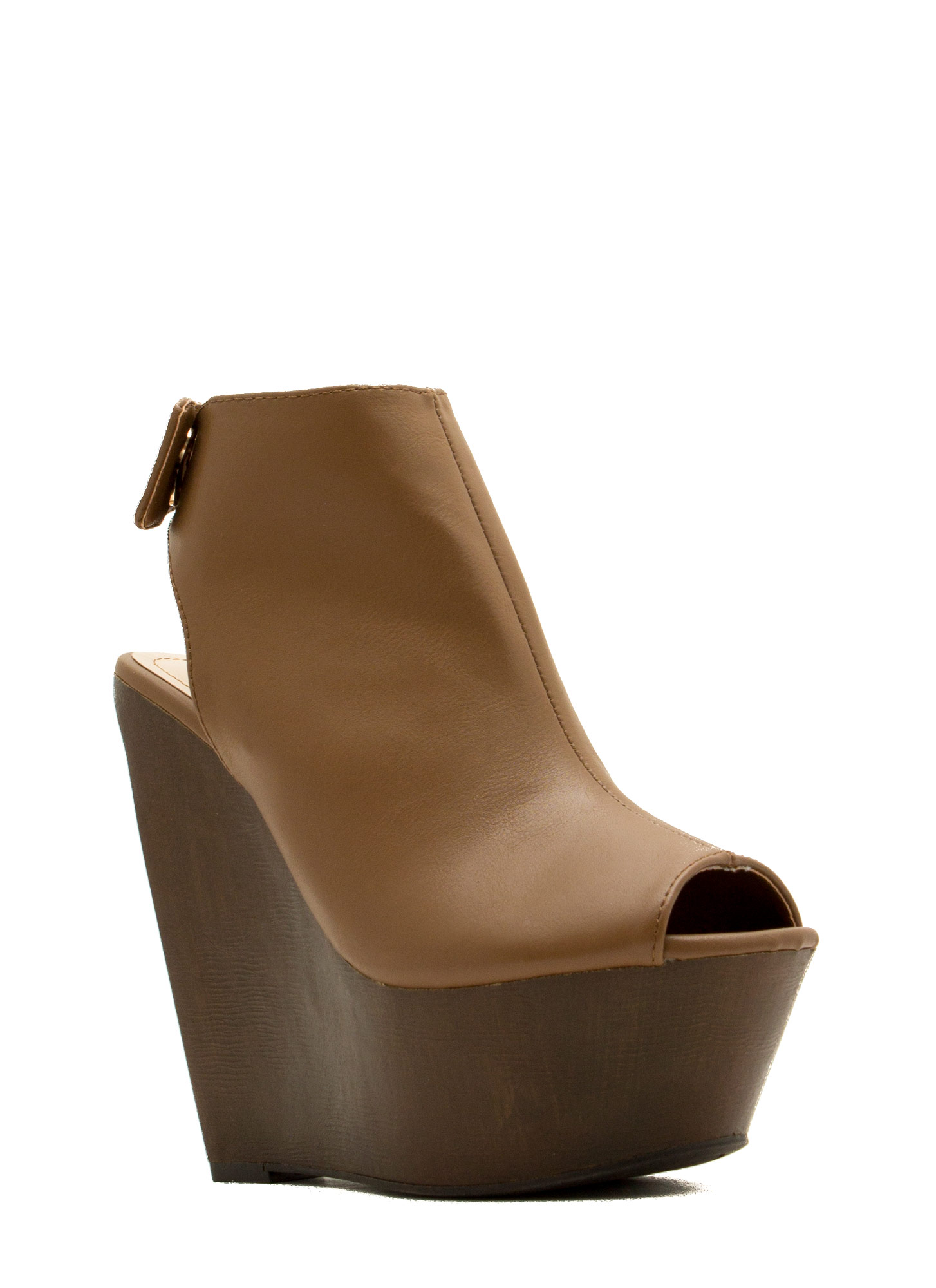 Faux Leather Mule Platform Wedges TAN
