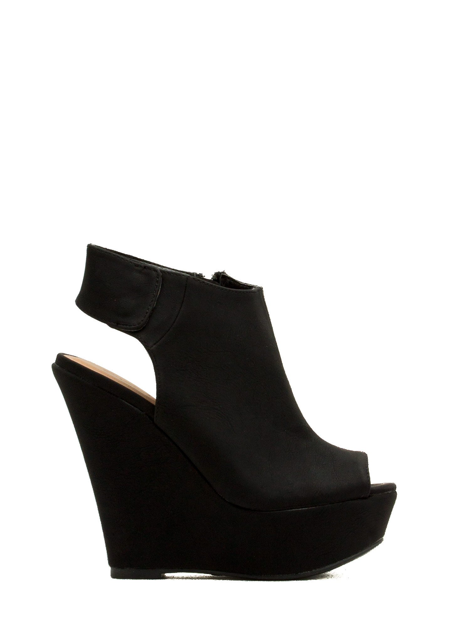Cut-Away Peep-Toe Wedges BLACK