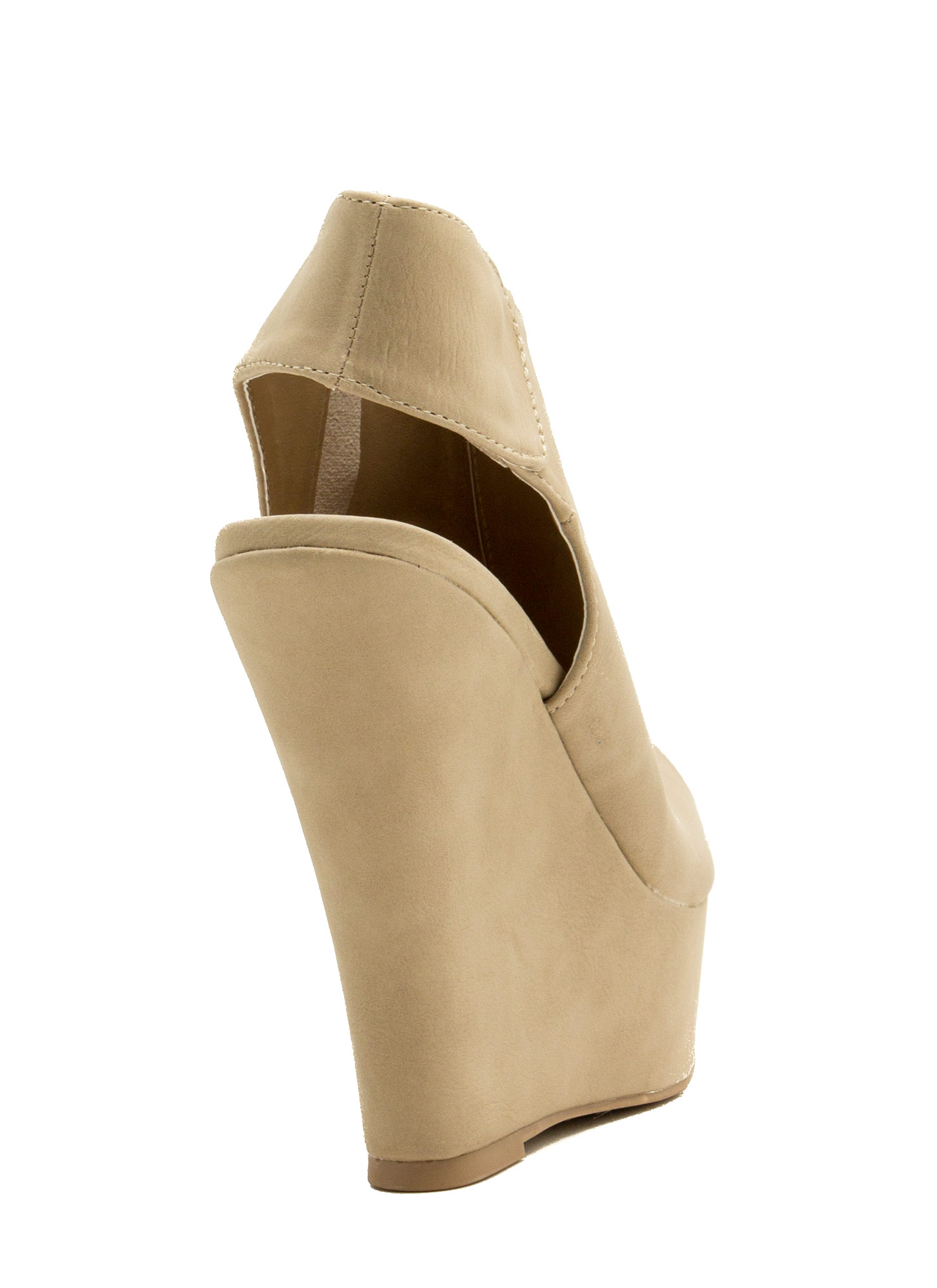 Cut-Away Peep-Toe Wedges TAUPE