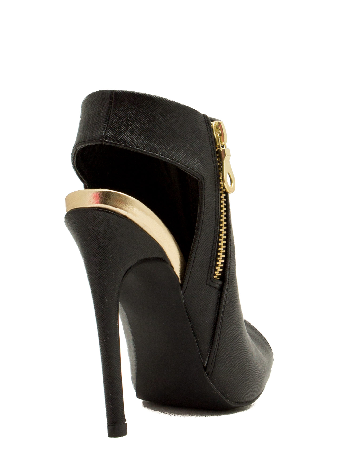 Back That Thang Up Rear Cut-Out Heels BLACK