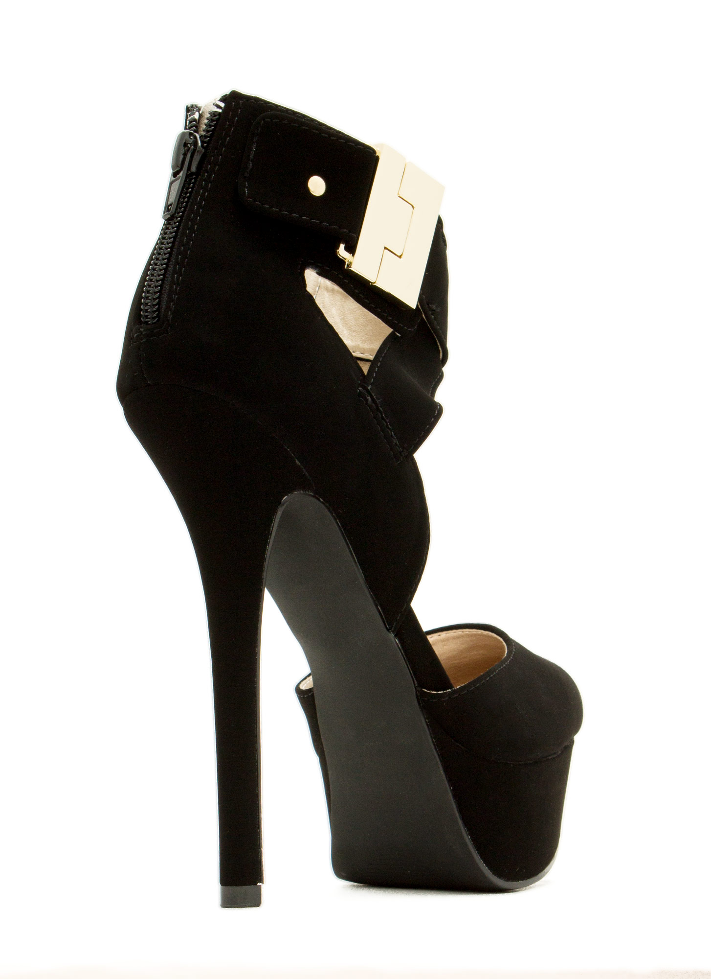 Locked And Loaded Ankle Strap Heels BLACK