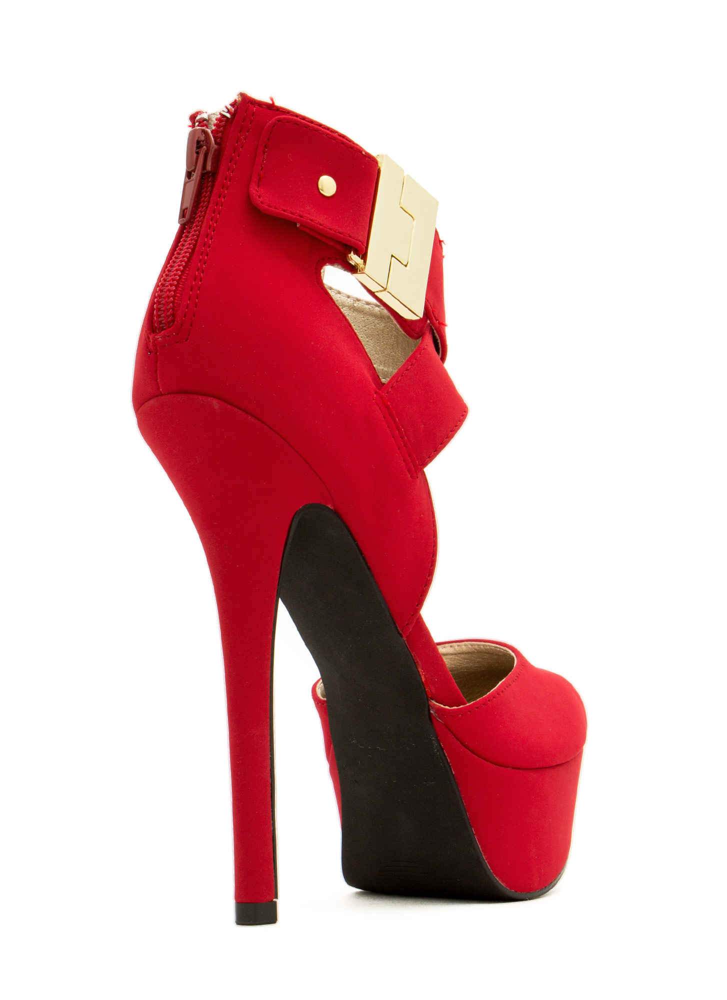 Locked And Loaded Ankle Strap Heels DARKRED