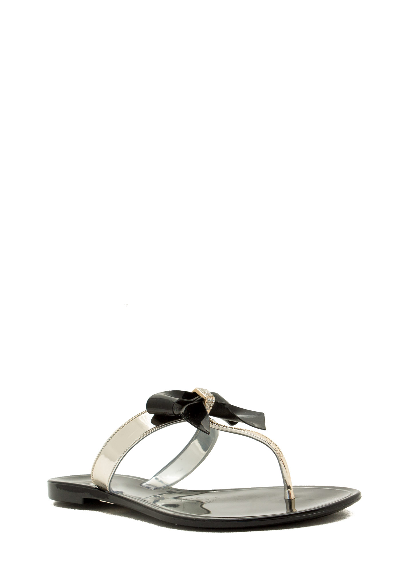 Bow For It Jeweled Slip-On Sandals BLACKGOLD