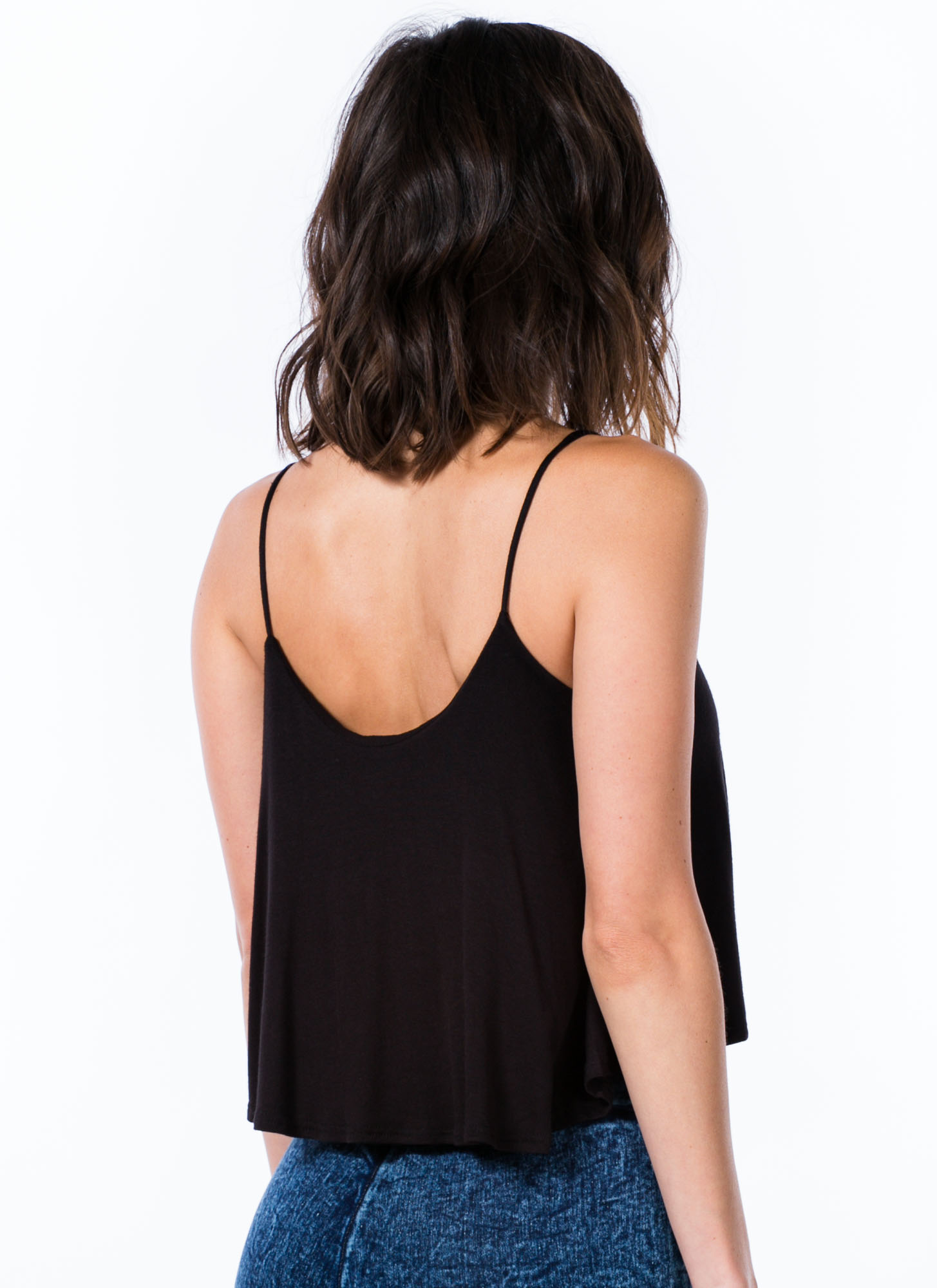 Easy Breezy Carefree Cami Swing Tank BLACK