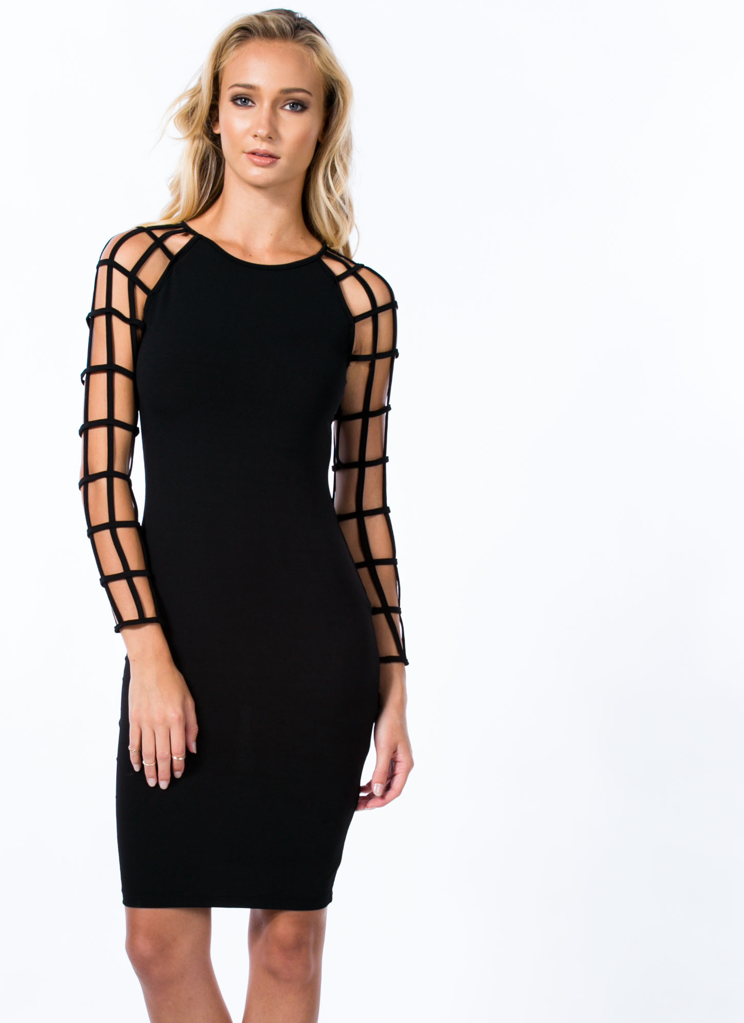 Lucky Ladder Sleeves Bodycon Dress BLACK