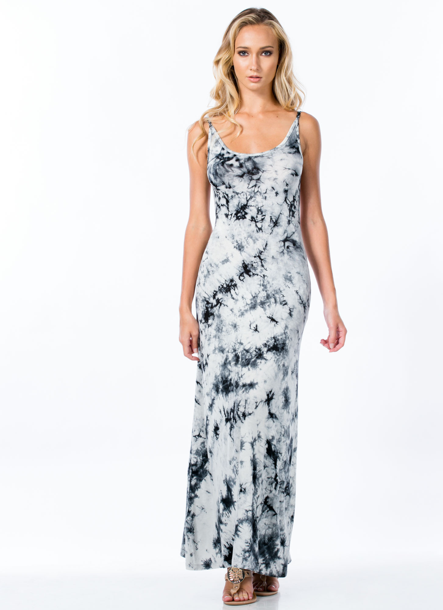 It's Tie-Dye For Open Back Maxi Dress BLACK