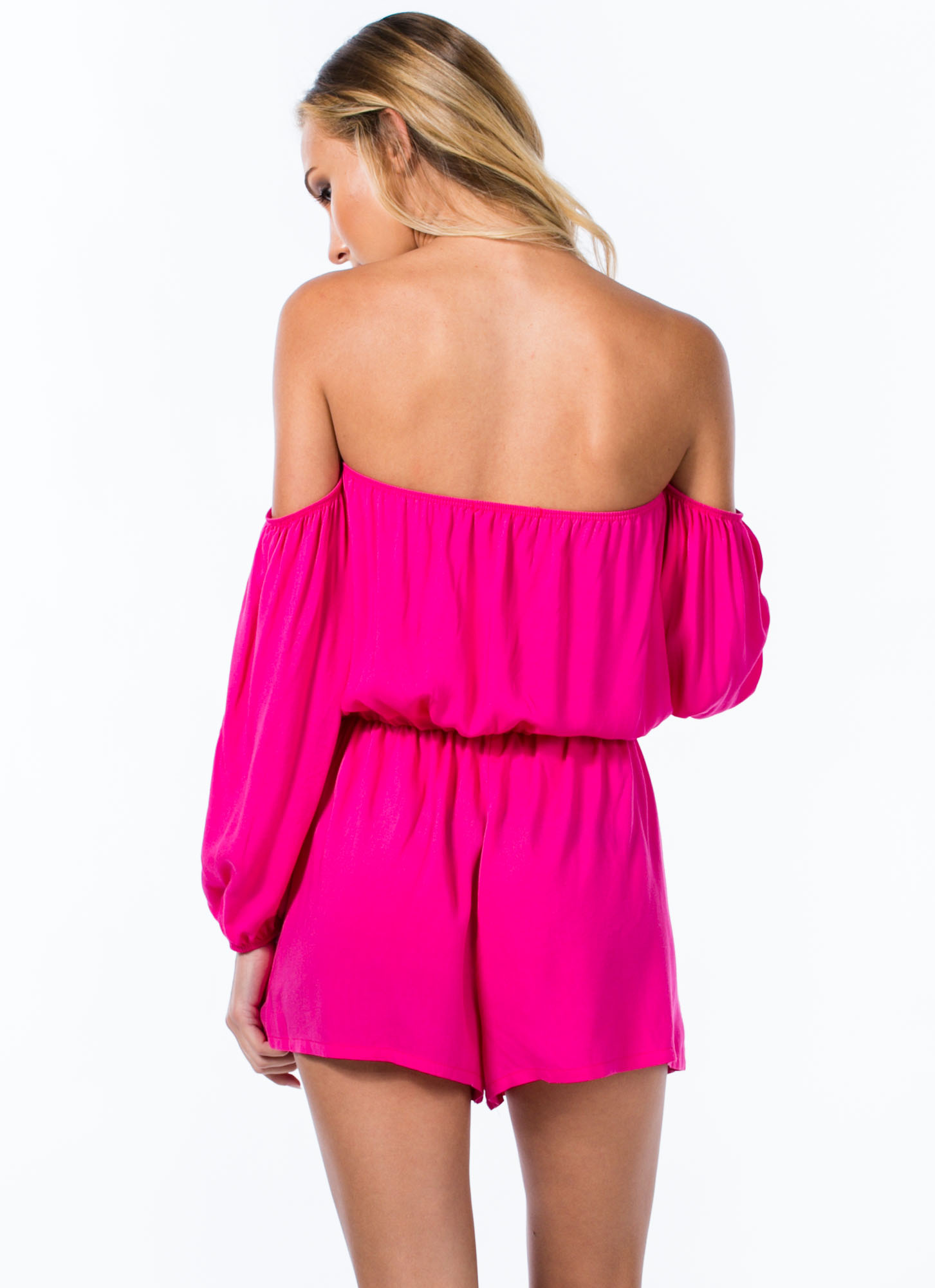 Modern-Day Juliet Off-Shoulder Romper PINK