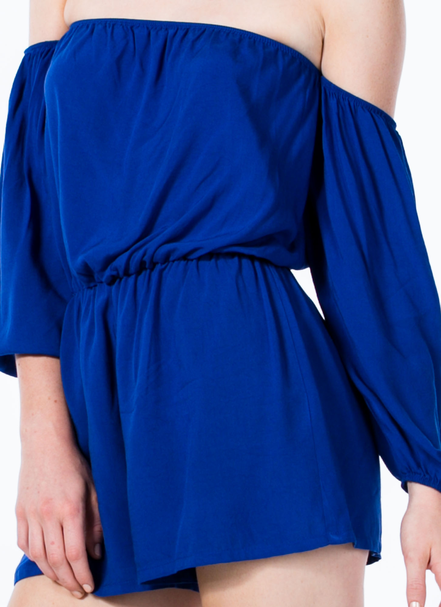 Modern-Day Juliet Off-Shoulder Romper ROYAL